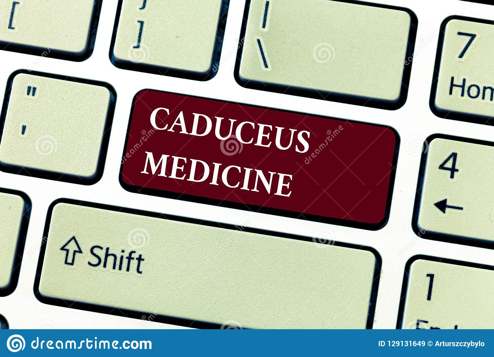Text sign showing Caduceus Medicine. Conceptual photo symbol used in medicine instead of the Rod of Asclepius
