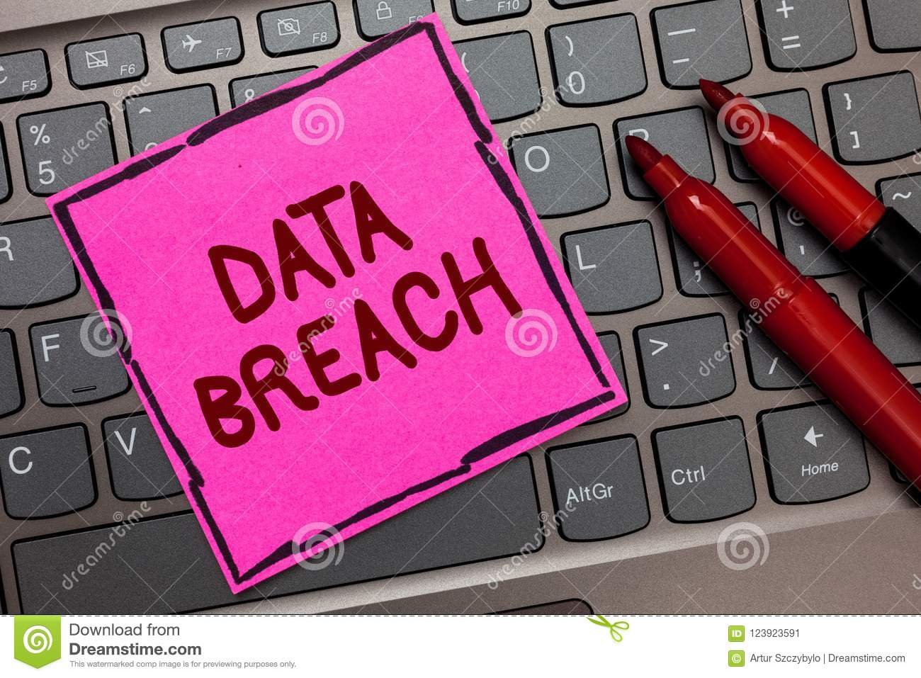 Text sign showing Data Breach. Conceptual photo security incident where sensitive protected information copied Pink paper keyboard