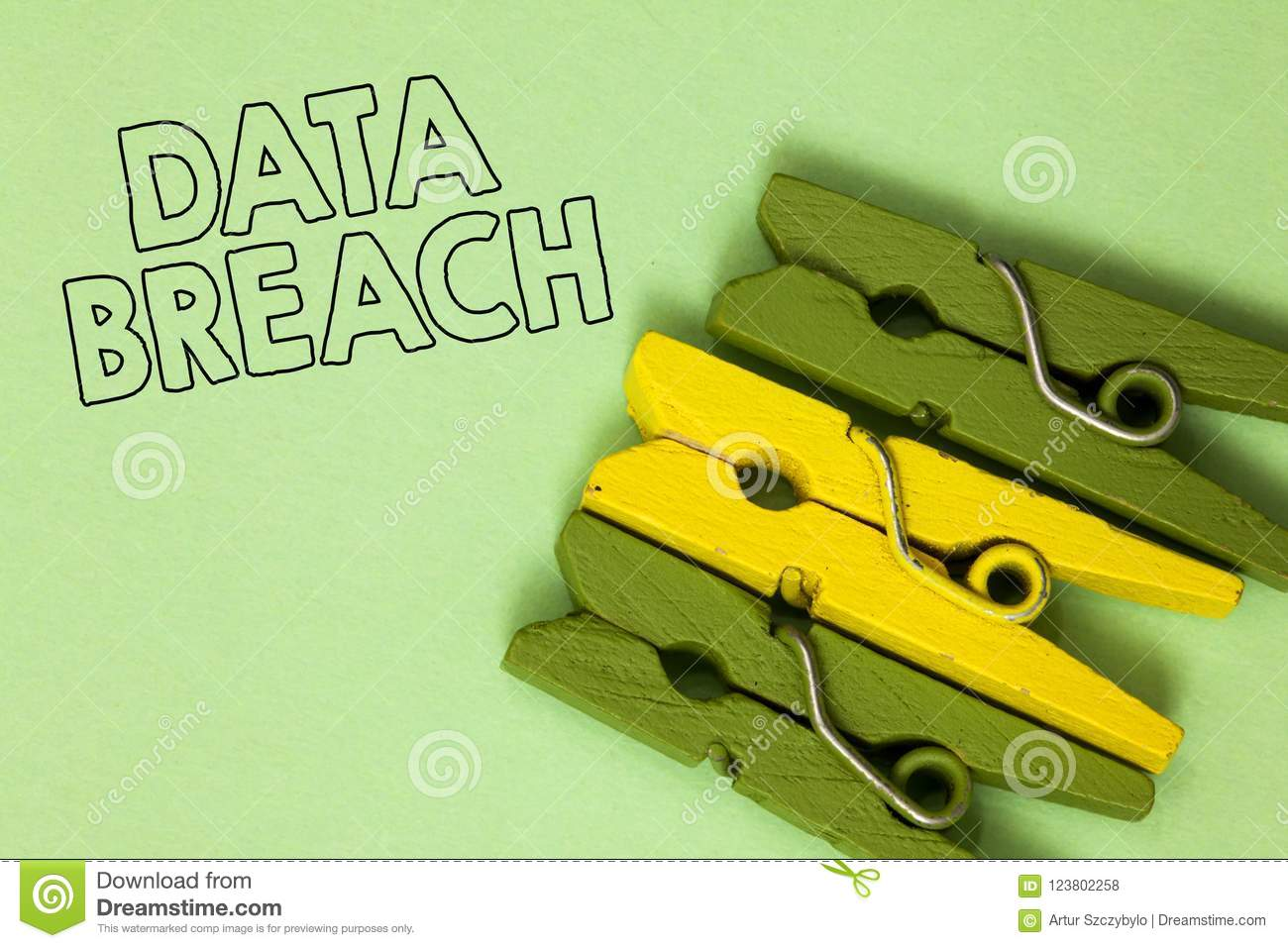 Text sign showing Data Breach. Conceptual photo security incident where sensitive protected information copied Three green yellow