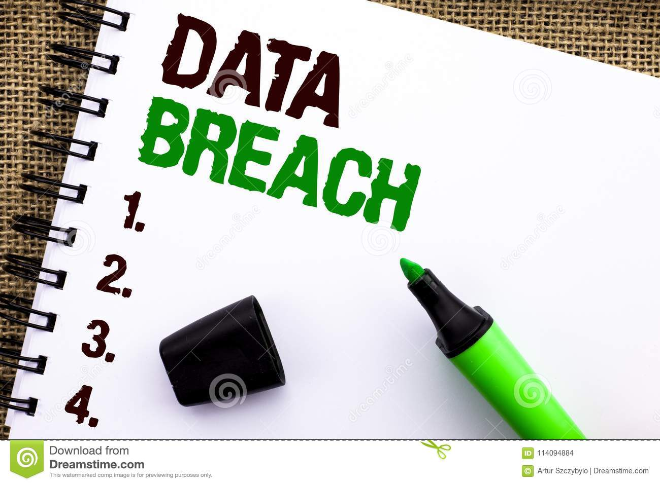 Text sign showing Data Breach. Conceptual photo Stolen Cybercrime Information Hacking Security Malicious Crack written on Notebook