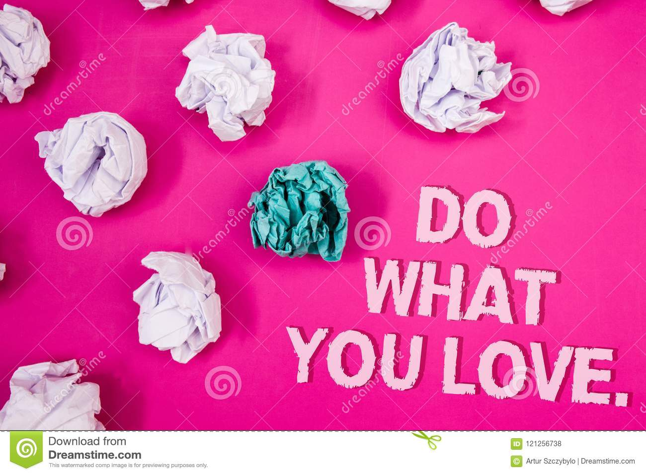Text sign showing Do What You Love.. Conceptual photo Positive Desire Happiness Interest Pleasure Happy Choice Text Words pink bac