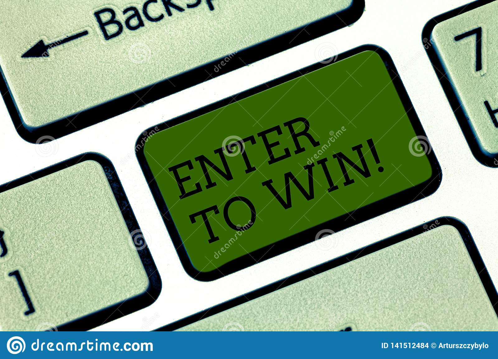 Text sign showing Enter To Win. Conceptual photo Sweepstakes Trying the luck to earn the big prize Lottery Keyboard key