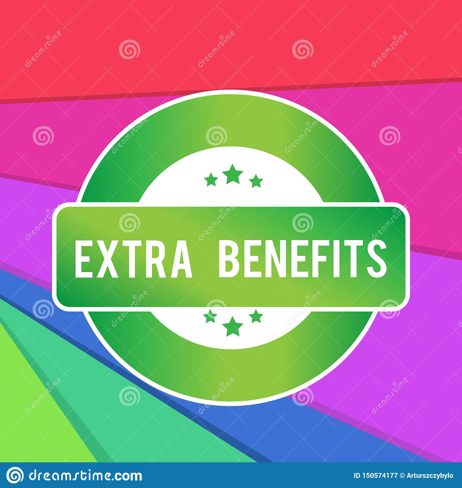 Text sign showing Extra Benefits. Conceptual photo Additional compensation Bonus Subsidies Incentives Allowances Colored