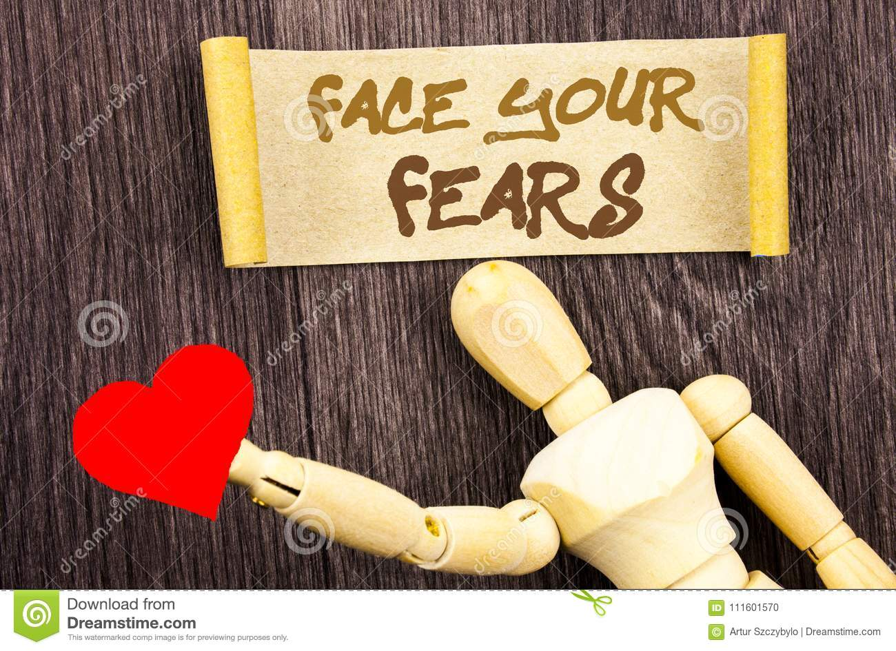 Text sign showing Face Your Fears. Conceptual photo Challenge Fear Fourage Confidence Brave Bravery written on Sticky Note Love He