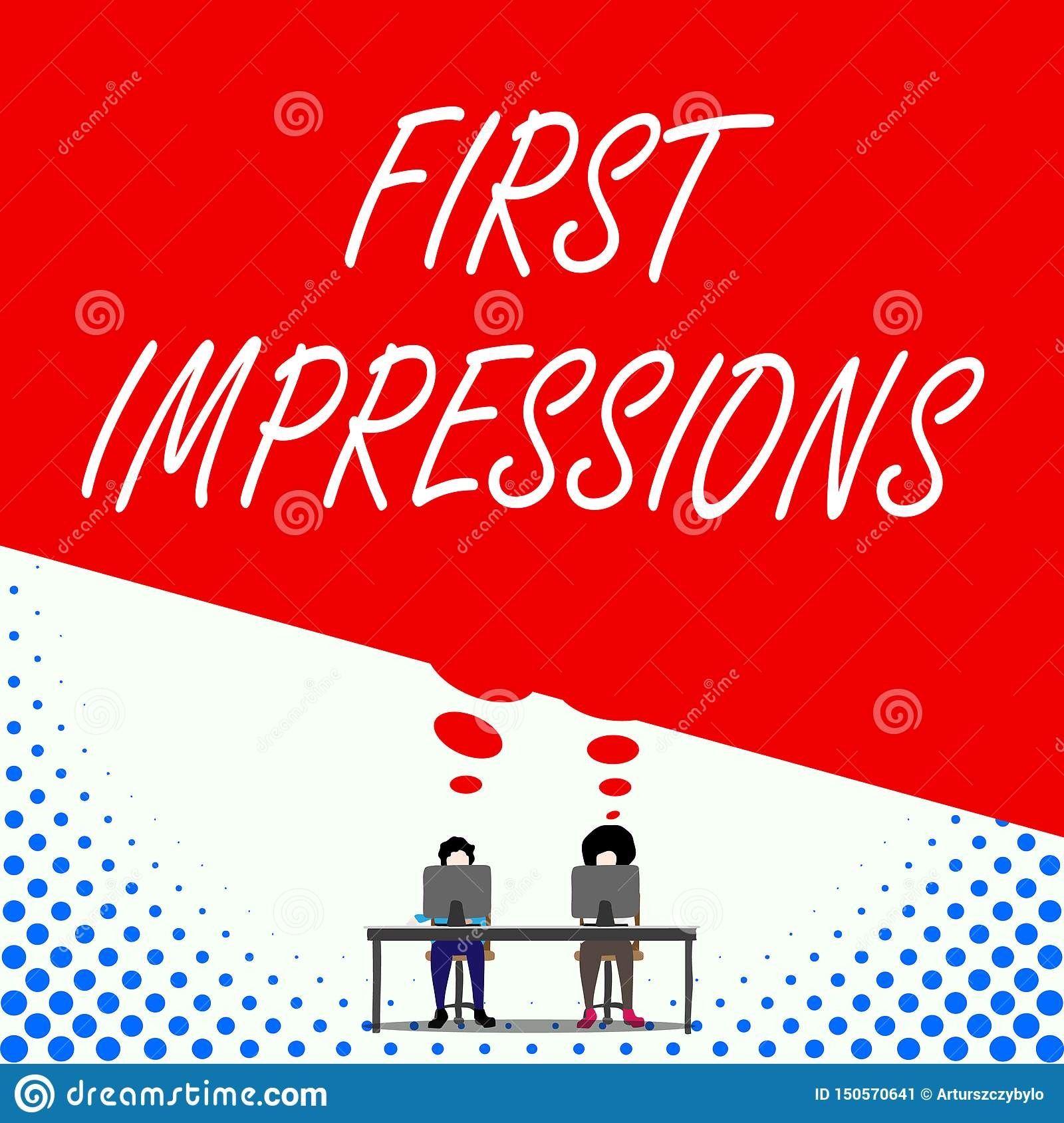 Text sign showing First Impressions. Conceptual photo What a demonstrating thinks of you when they first meet you Two