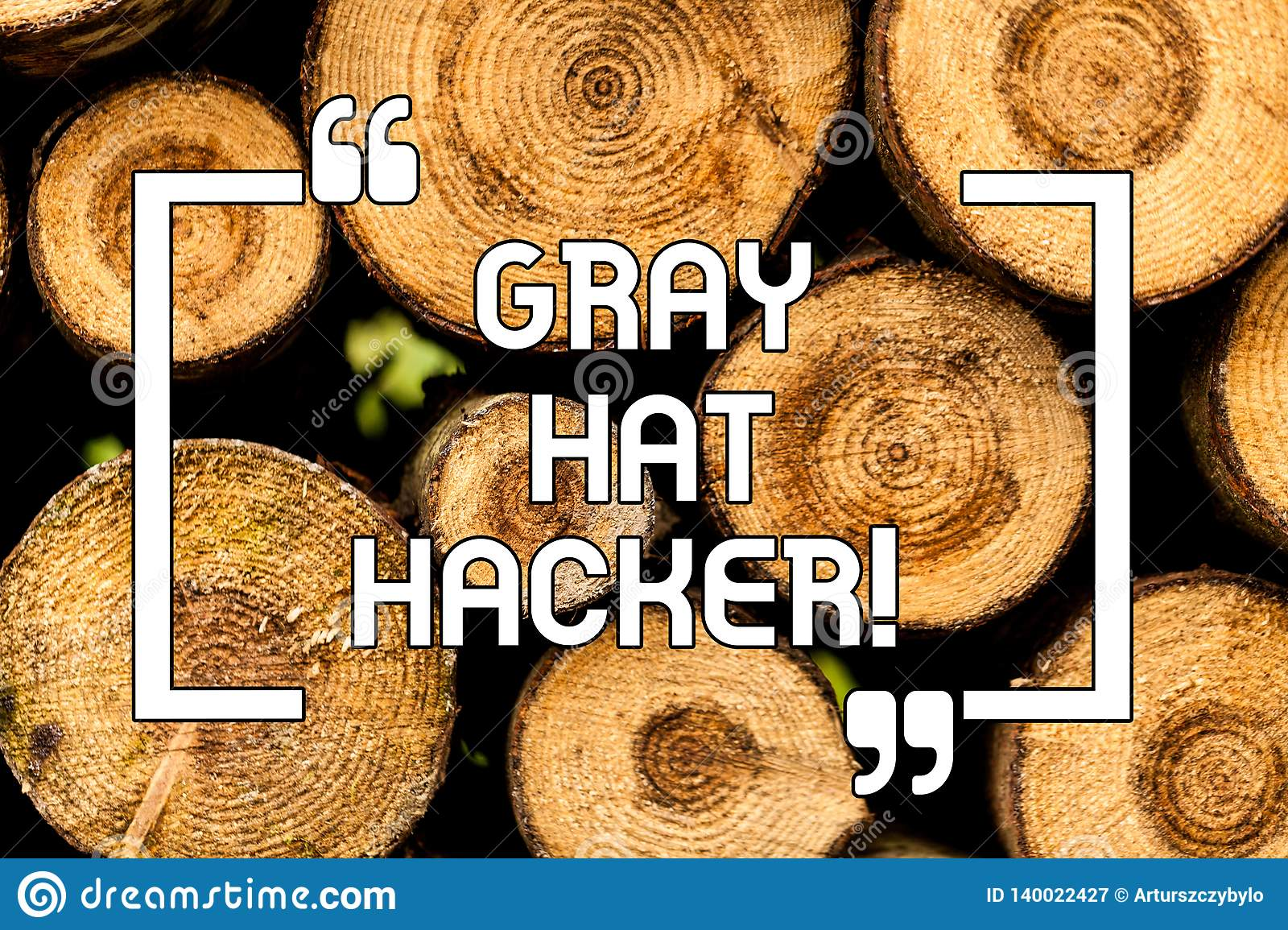 Text sign showing Gray Hat Hacker. Conceptual photo Computer security expert who may sometimes violate laws Wooden