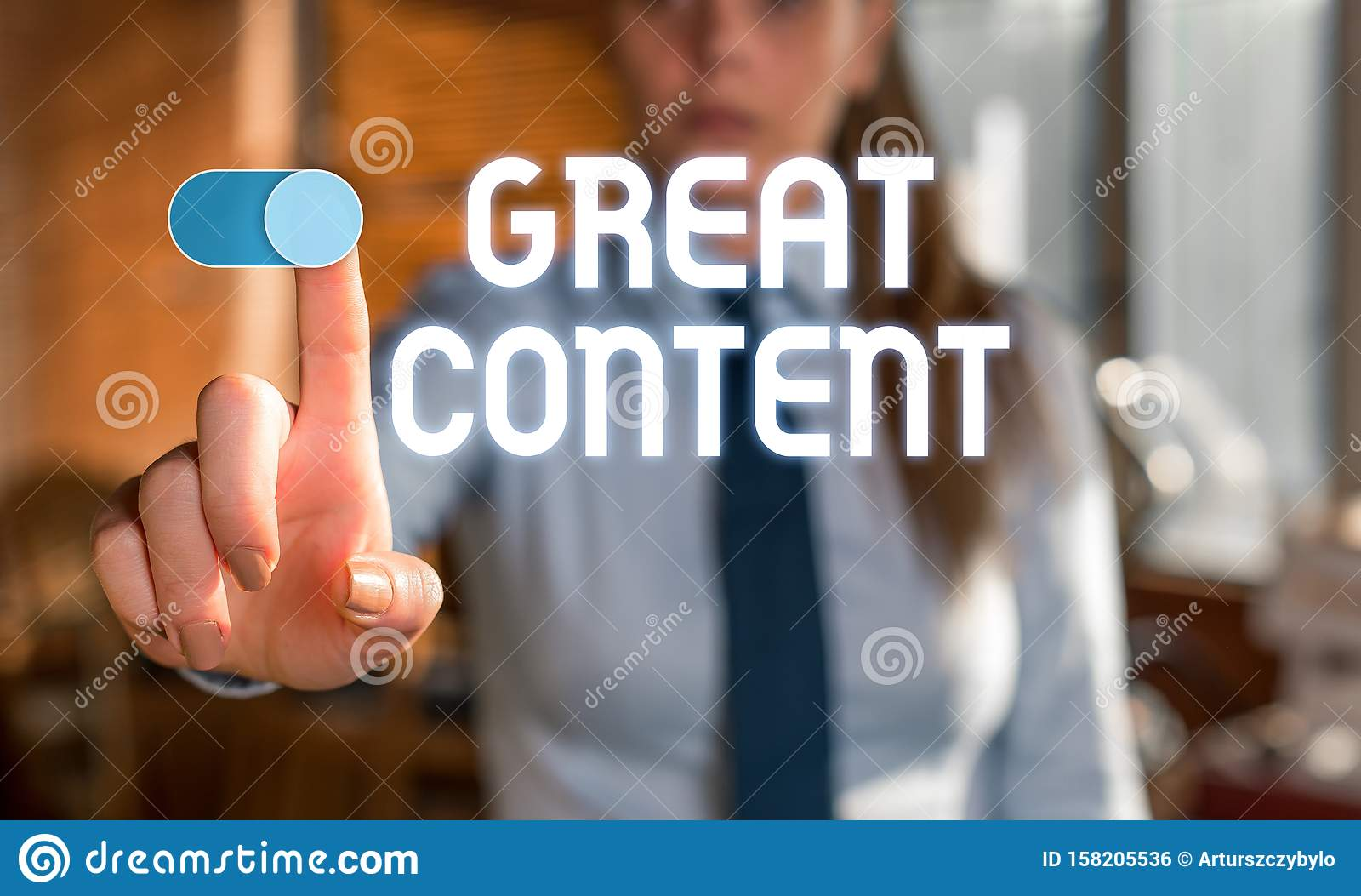 Text sign showing Great Content. Conceptual photo Satisfaction Motivational Readable Applicable Originality Blurred