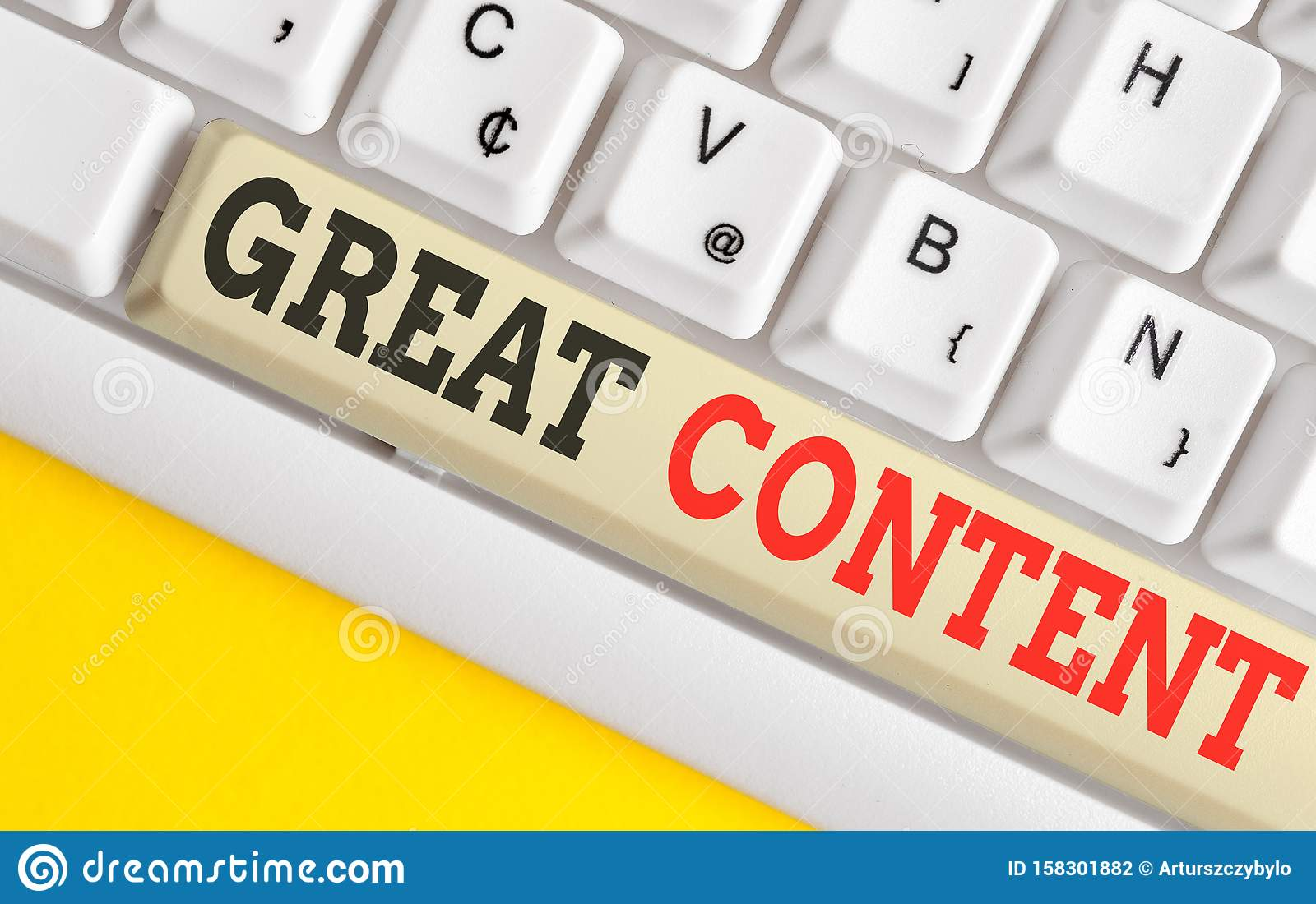 Text sign showing Great Content. Conceptual photo Satisfaction Motivational Readable Applicable Originality White pc