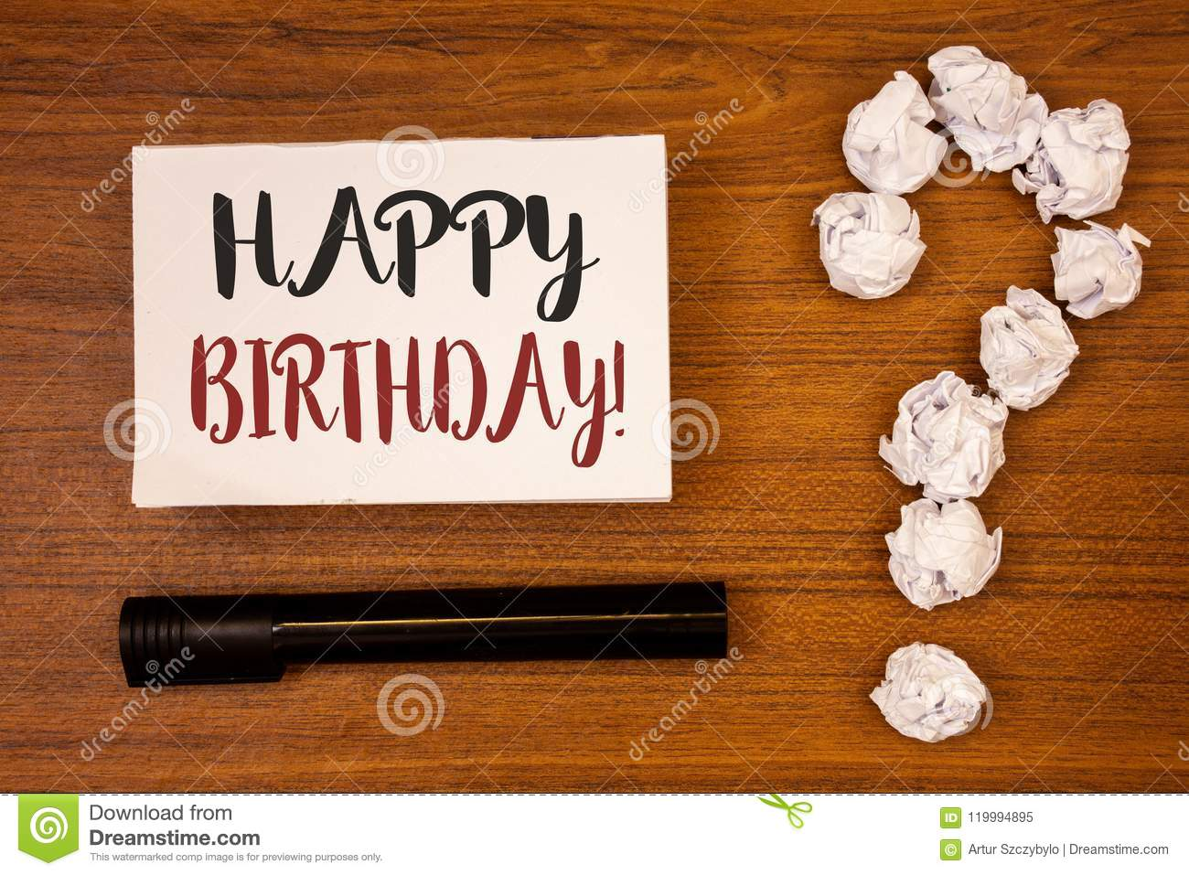 Text sign showing Happy Birthday Motivational Call. Conceptual photo Congratulations Celebrating Anniversary Ideas on paper wooden