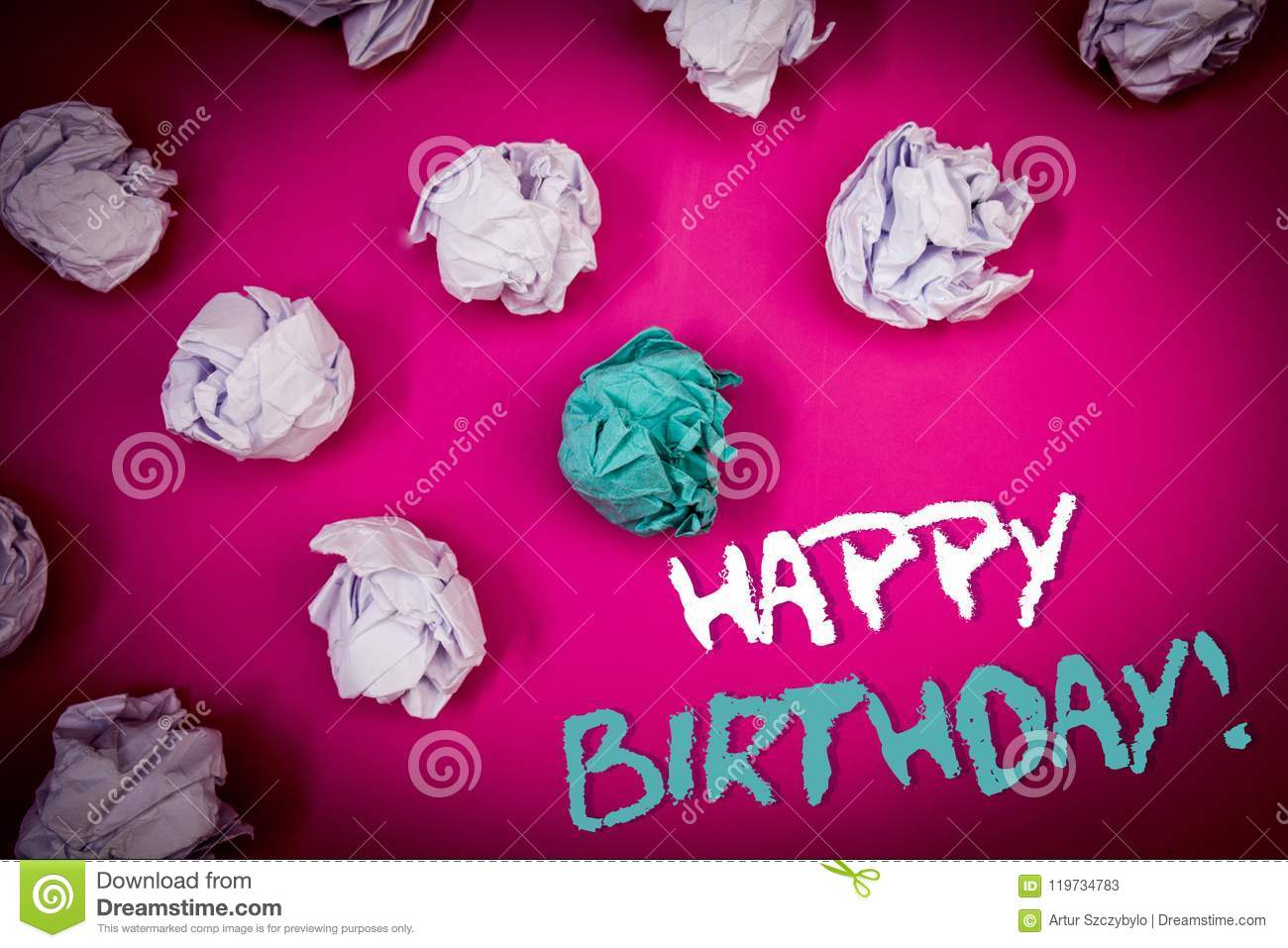 Text sign showing Happy Birthday Motivational Call. Conceptual photo Congratulations Celebrating Anniversary Ideas white blue lett