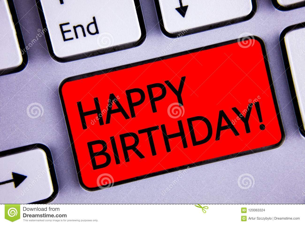 Text sign showing Happy Birthday Motivational Call. Conceptual photo Congratulations Celebrating Anniversary Keyboard red key blac