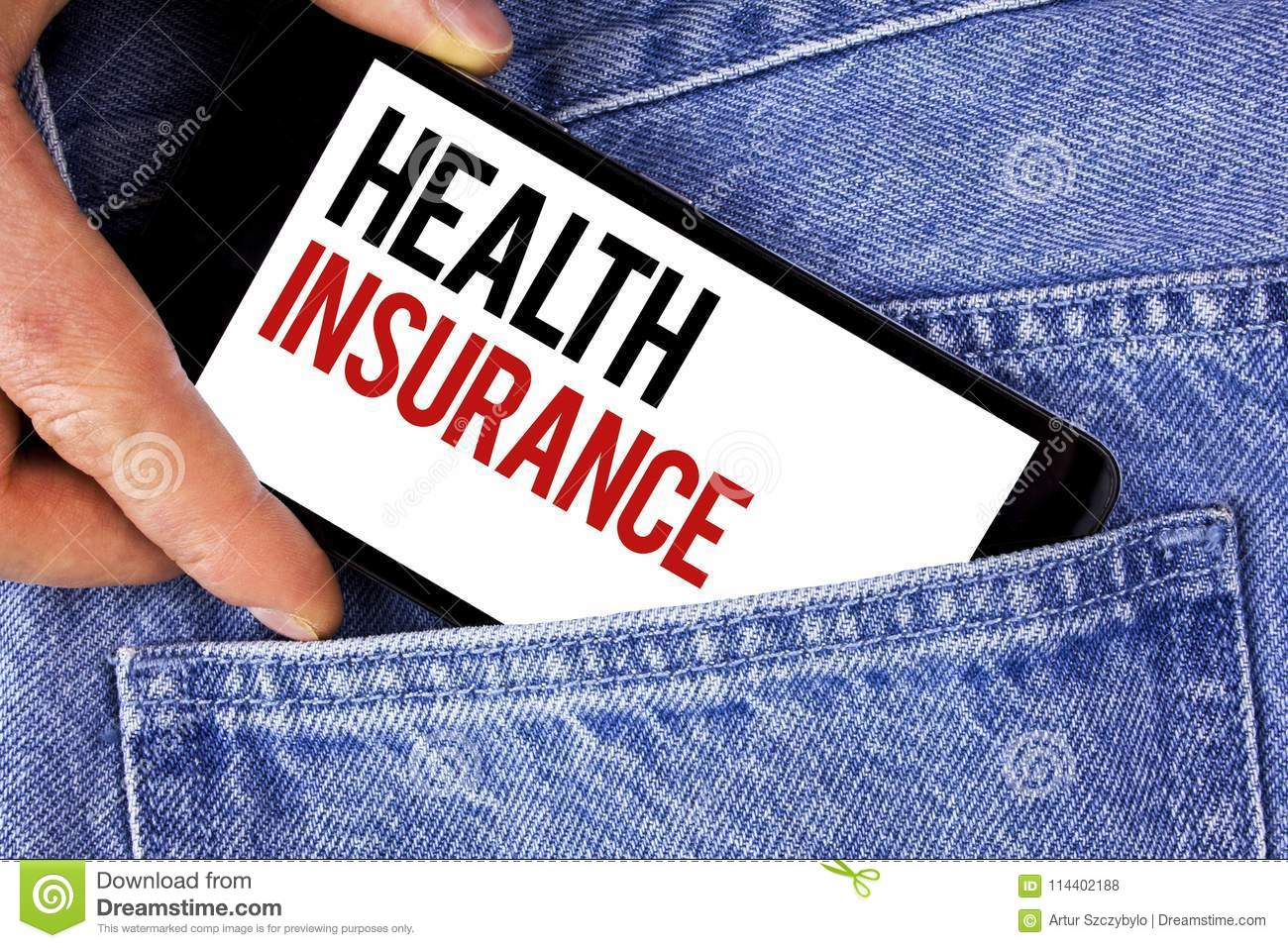 Text sign showing Health Insurance. Conceptual photo Health insurance information coverage healthcare provider written on Mobile p