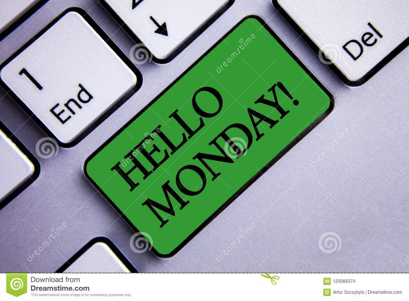 Text sign showing Hello Monday Motivational Call. Conceptual photo Positive Message for a new day Week Start Text two words green