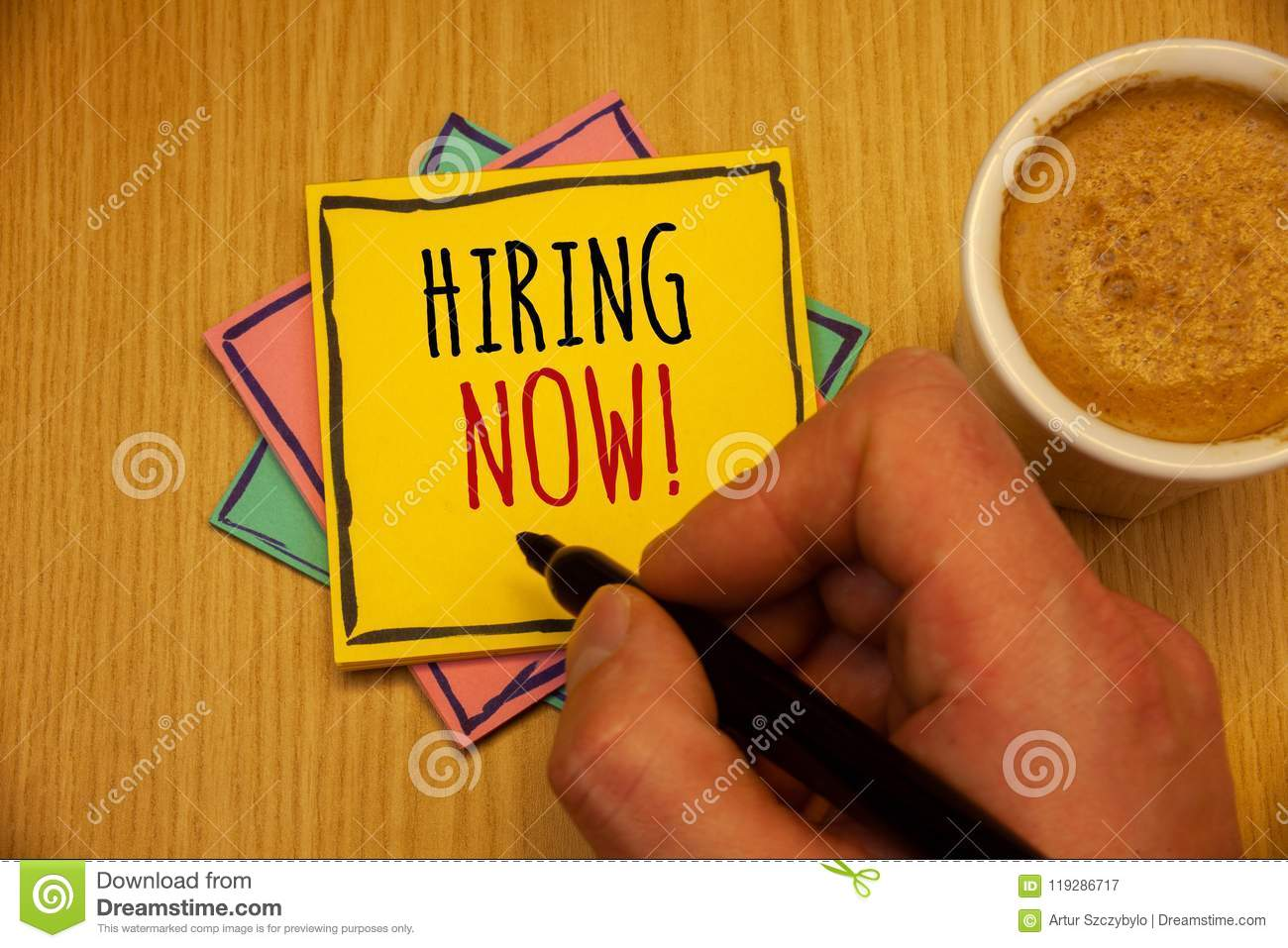 Text sign showing Hiring Now Motivational Call. Conceptual photos Workforce Wanted Employees RecruitmentMan creating yellow pink b