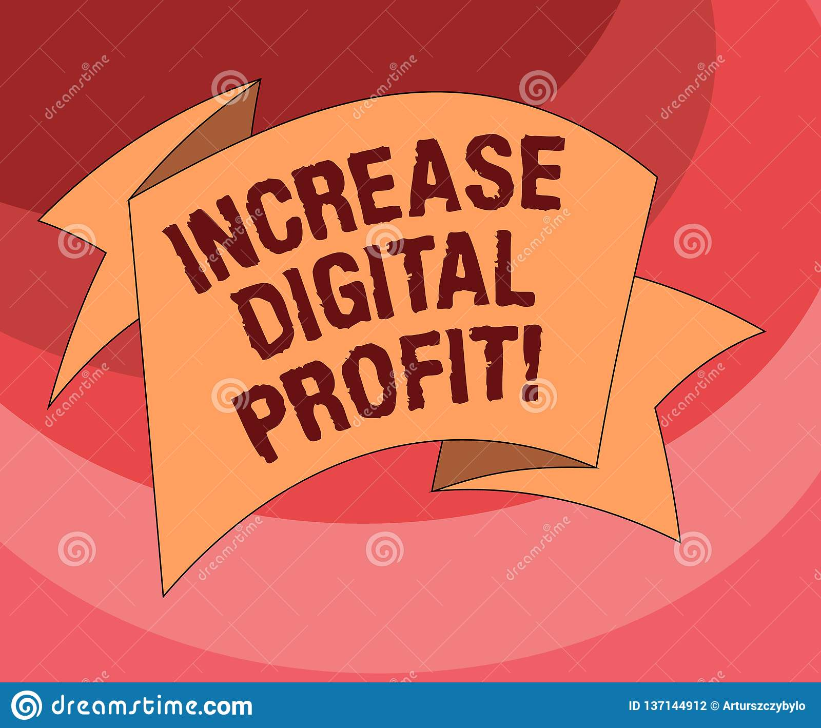 Text sign showing Increase Digital Profit. Conceptual photo improve rendered services through the internet Folded 3D Ribbon Strip