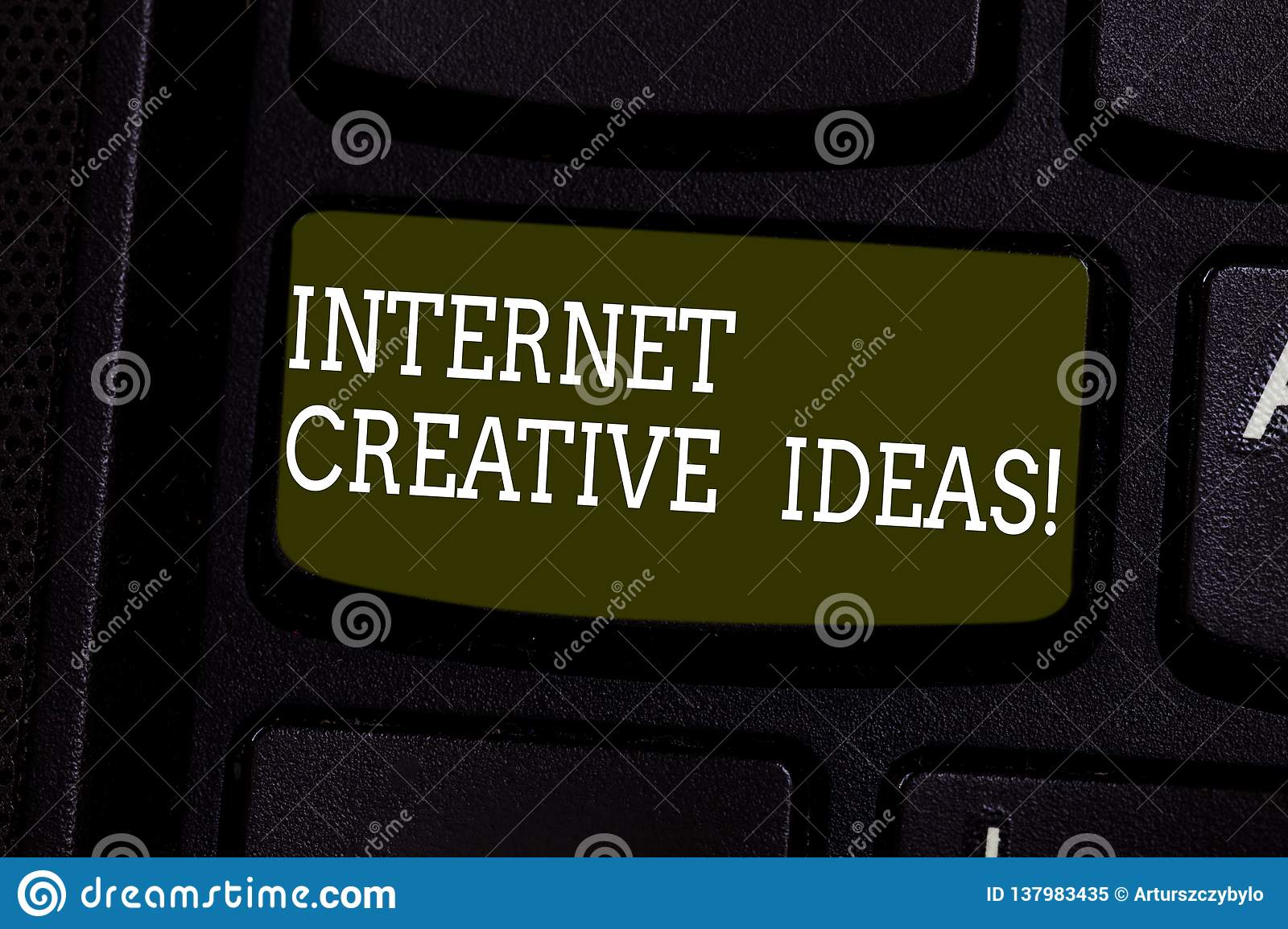 Text sign showing Internet Creative Ideas. Conceptual photo ability to make new things or think of new ideas Keyboard
