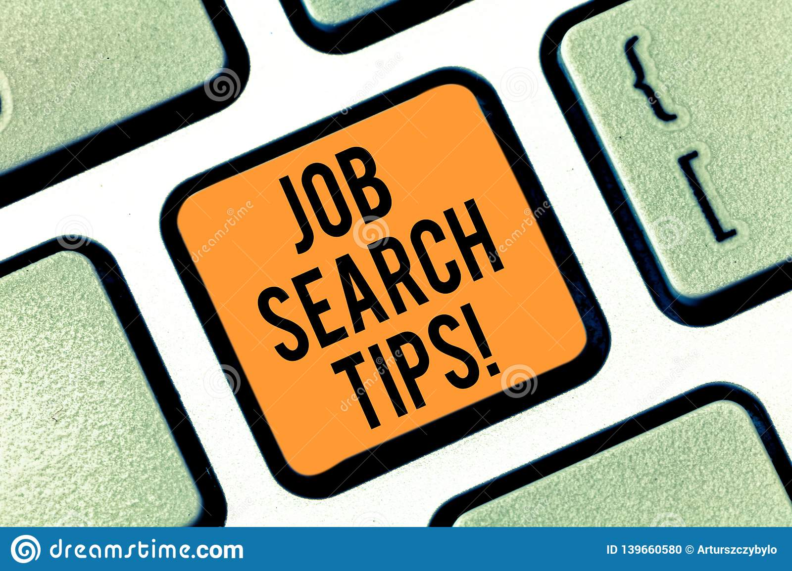 Text sign showing Job Search Tips. Conceptual photo Recommendations to make a good resume to obtain a position Keyboard