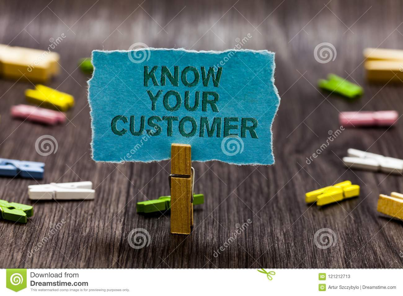 Text sign showing Know Your Customer. Conceptual photo Marketing creating a poll improve product or brand Clips symbol idea script