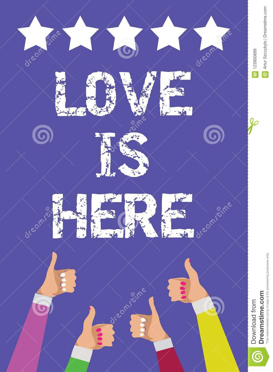 Text sign showing Love Is Here. Conceptual photo Romantic feeling Lovely emotion Positive Expression Care Joy Men women hands thum
