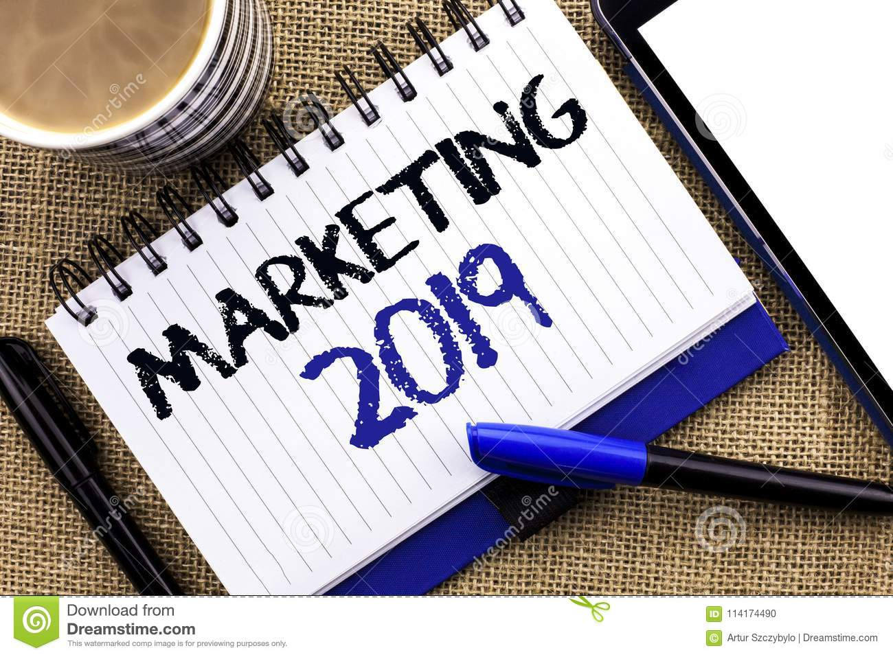 Text Sign Showing Marketing 2019. Conceptual Photo New Year Market ...