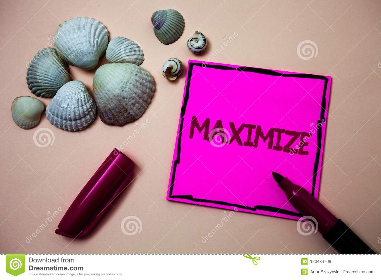 Text sign showing Maximize. Conceptual photo Increase to the greatest possible amount or degree Make larger Ink marker open cap sm