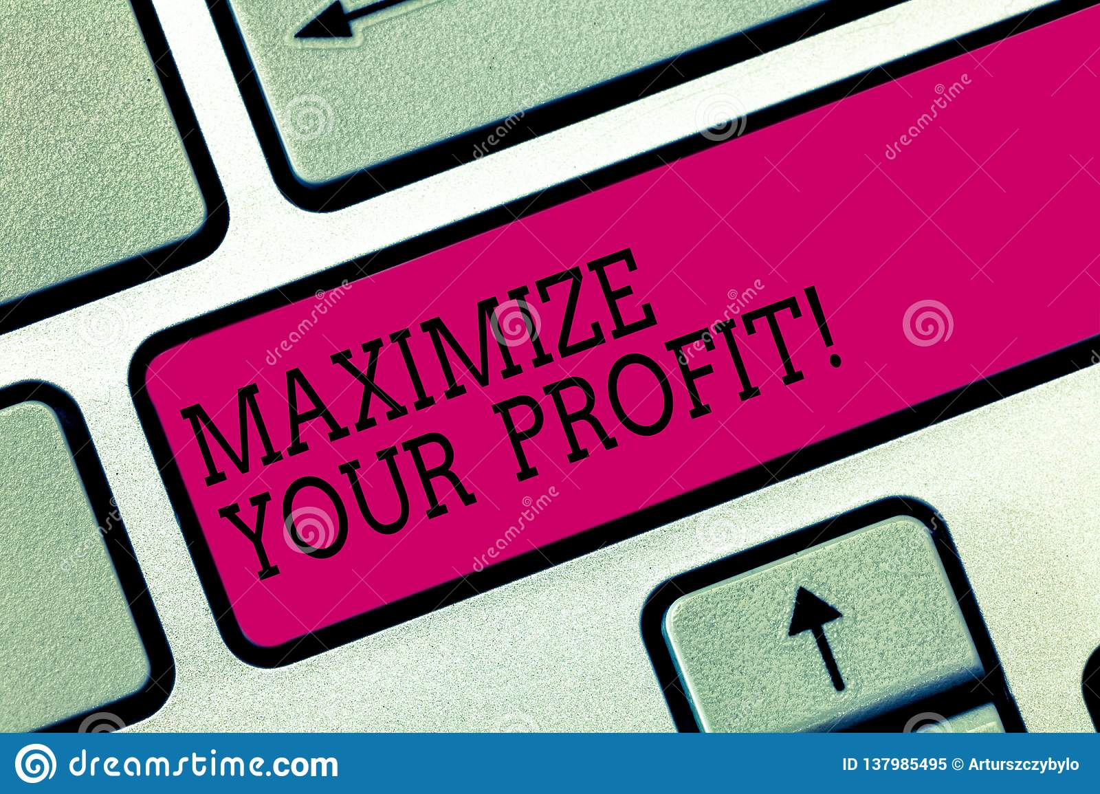 Text sign showing Maximize Your Profit. Conceptual photo Achieve a maximum profit with low operating expenses Keyboard