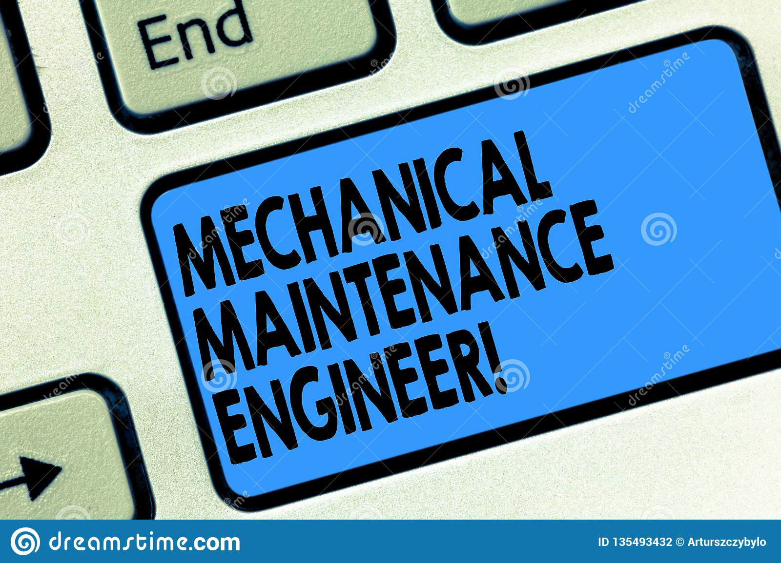 Text sign showing Mechanical Maintenance Engineer. Conceptual photo Responsible for machines efficiency Keyboard key
