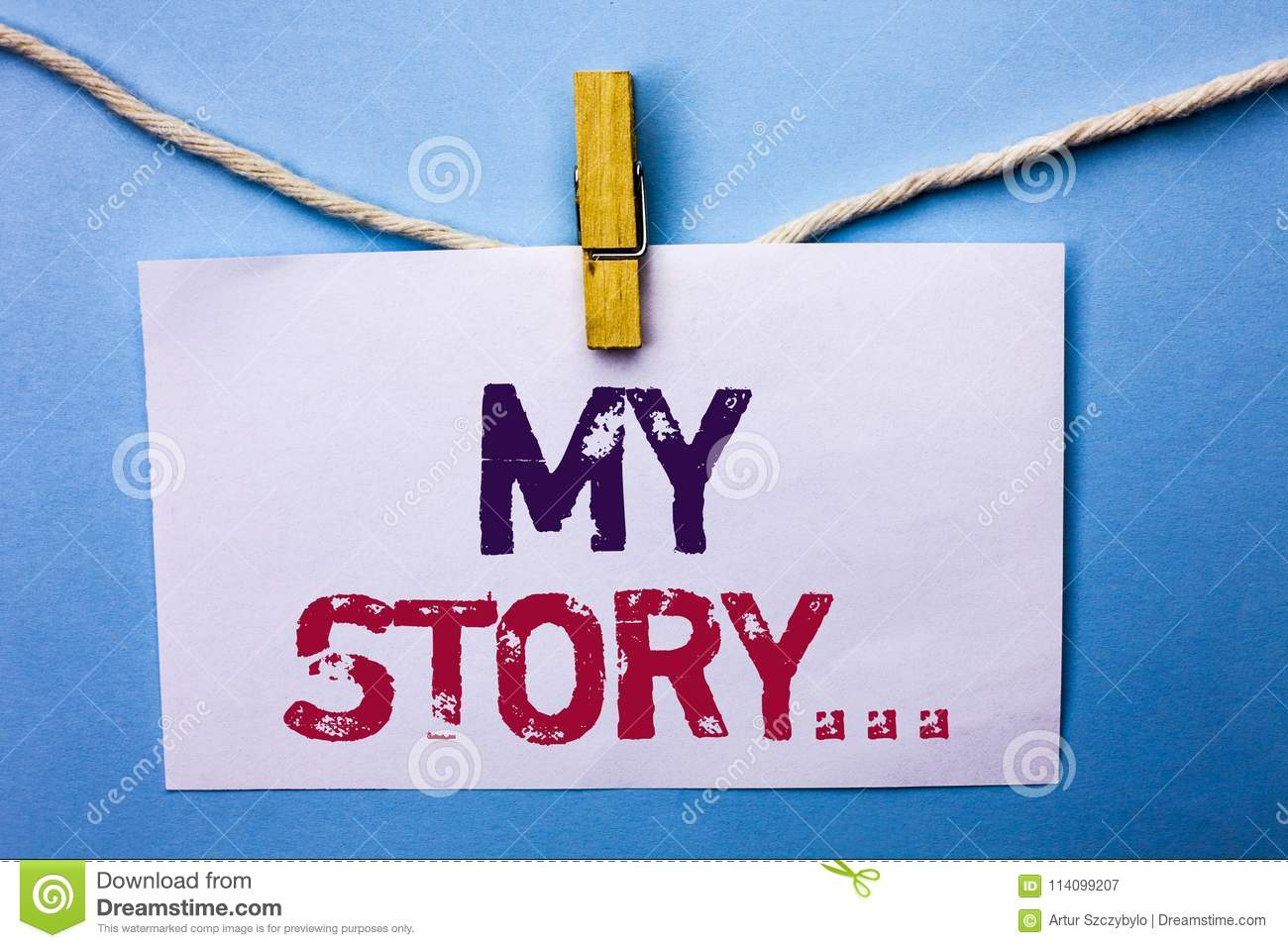 Text Sign Showing My Story     Conceptual Photo Biography