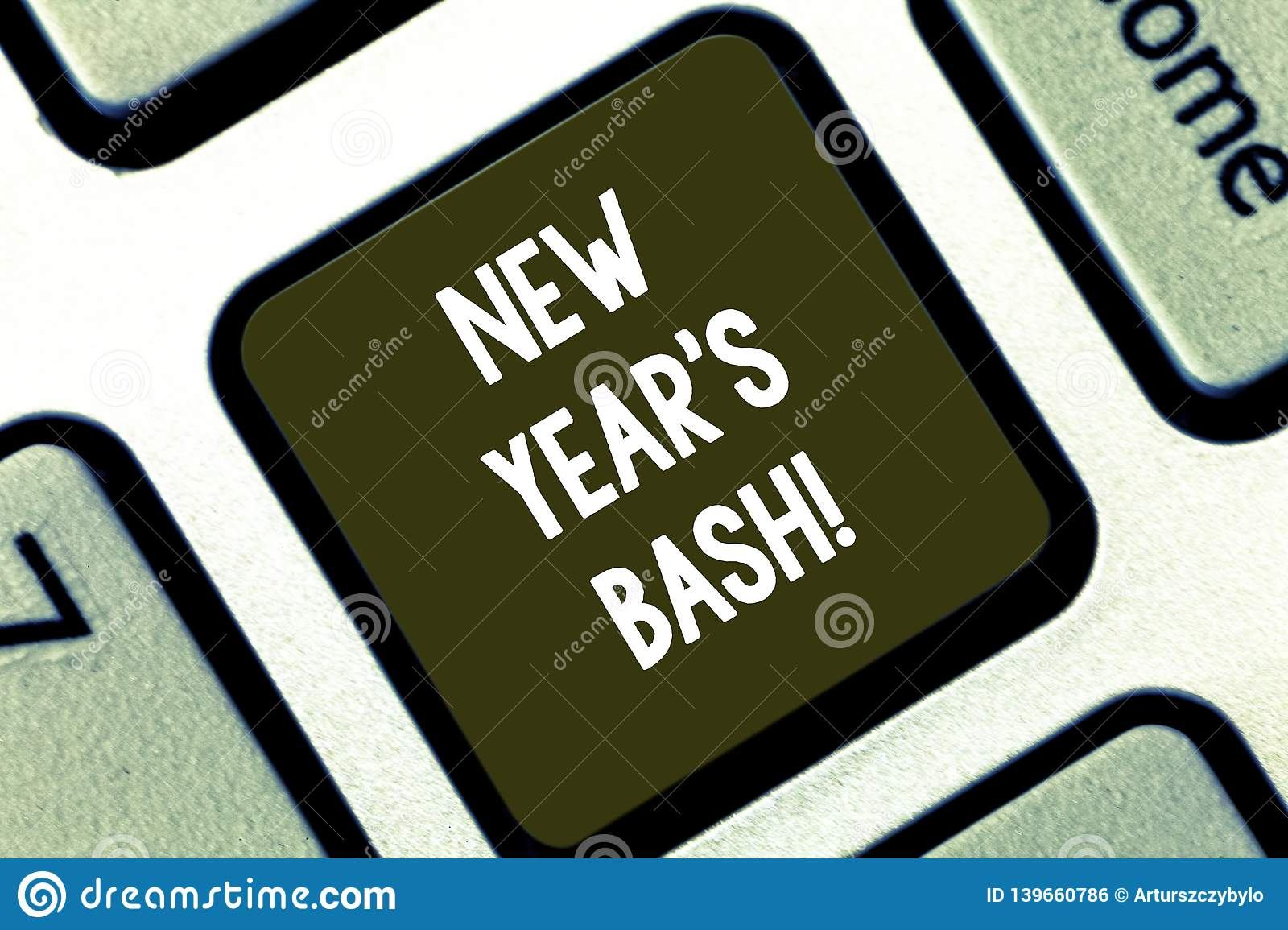 Text sign showing New Year S Bash. Conceptual photo Celebration of the 365 days coming Happy party time Keyboard key
