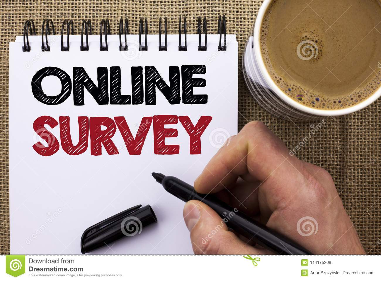 Text sign showing Online Survey. Conceptual photo Digital Media Poll Customer Feedback Opinions Questionnaire written by Man Holdi
