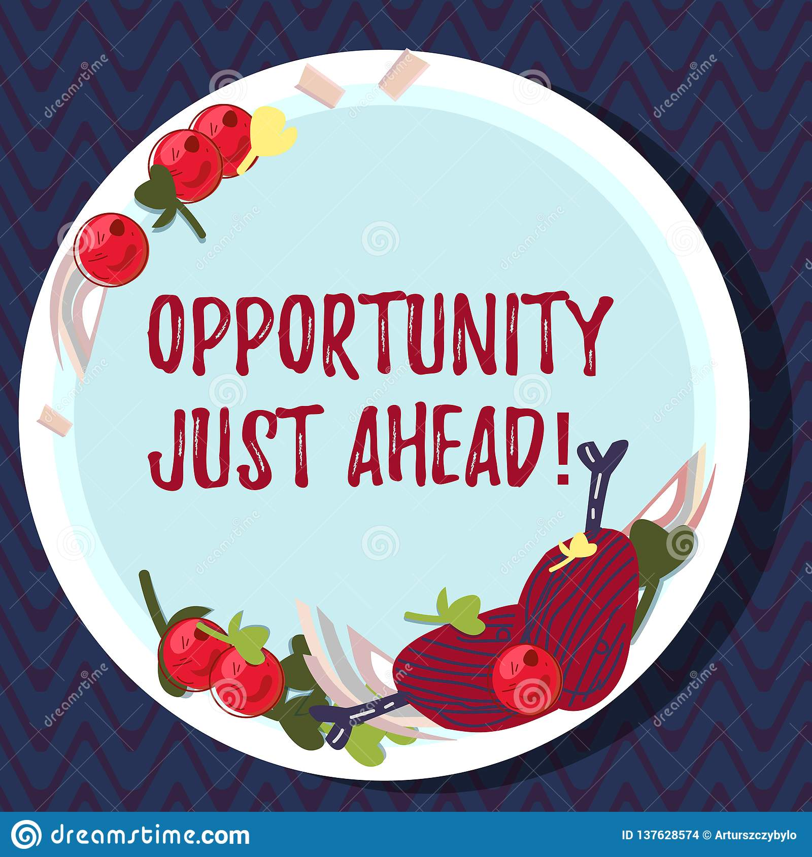 Text sign showing Opportunity Just Ahead. Conceptual photo Success is waiting in front of you Keep moving Hand Drawn Lamb Chops