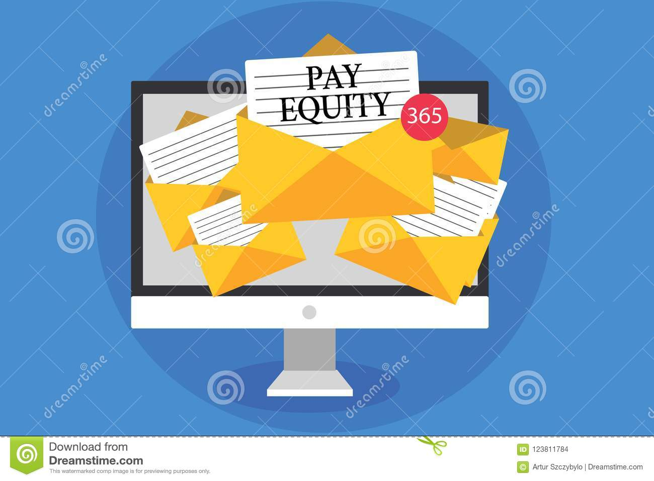 Text sign showing Pay Equity. Conceptual photo eliminating sex and race discrimination in wage systems Computer receiving emails i
