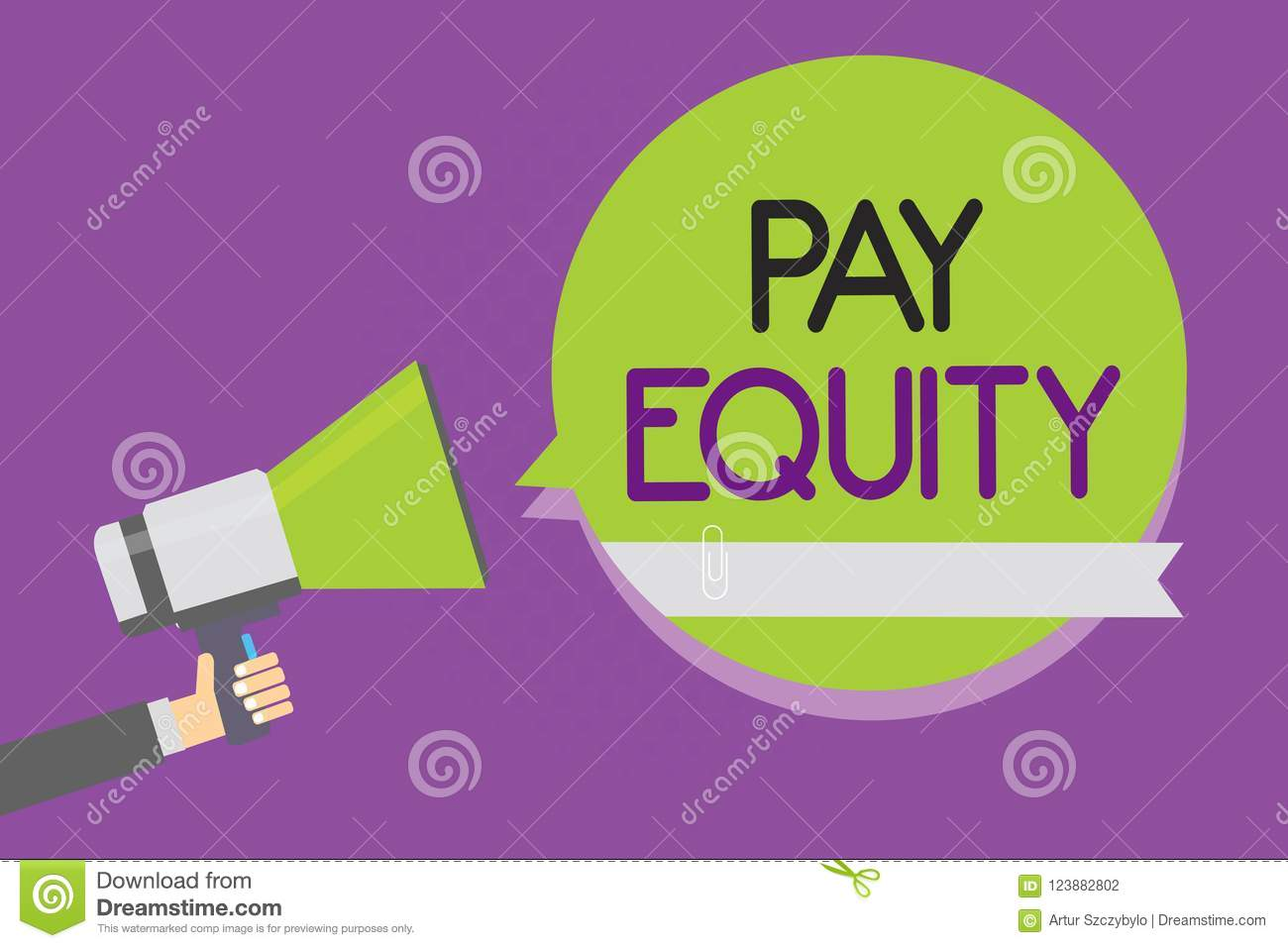 Text sign showing Pay Equity. Conceptual photo eliminating sex and race discrimination in wage systems Man holding megaphone louds