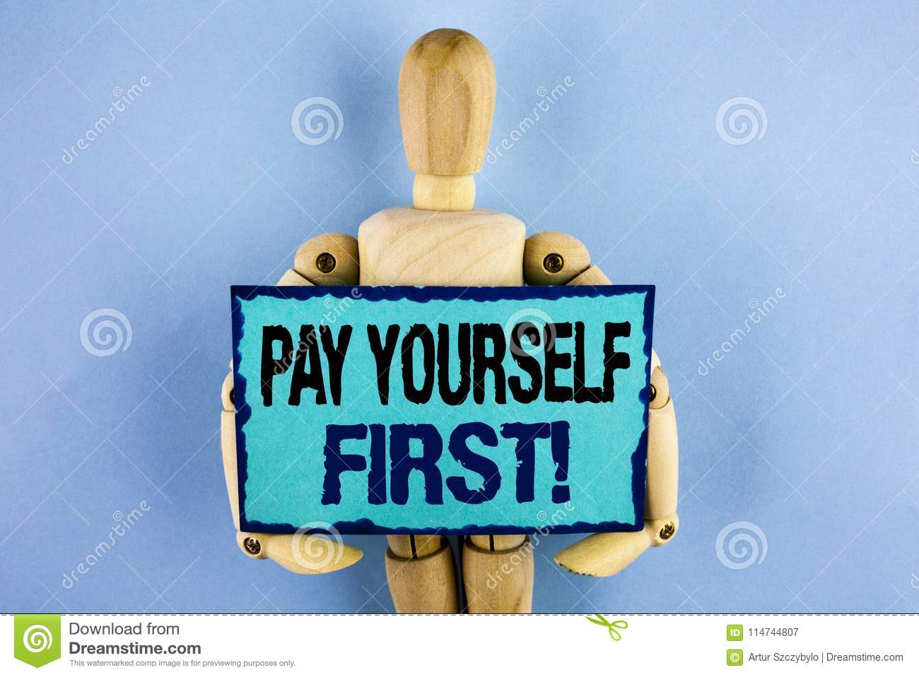 Text sign showing Pay Yourself First Motivational Call. Conceptual photo Personal Finance Save money for future written on Sticky