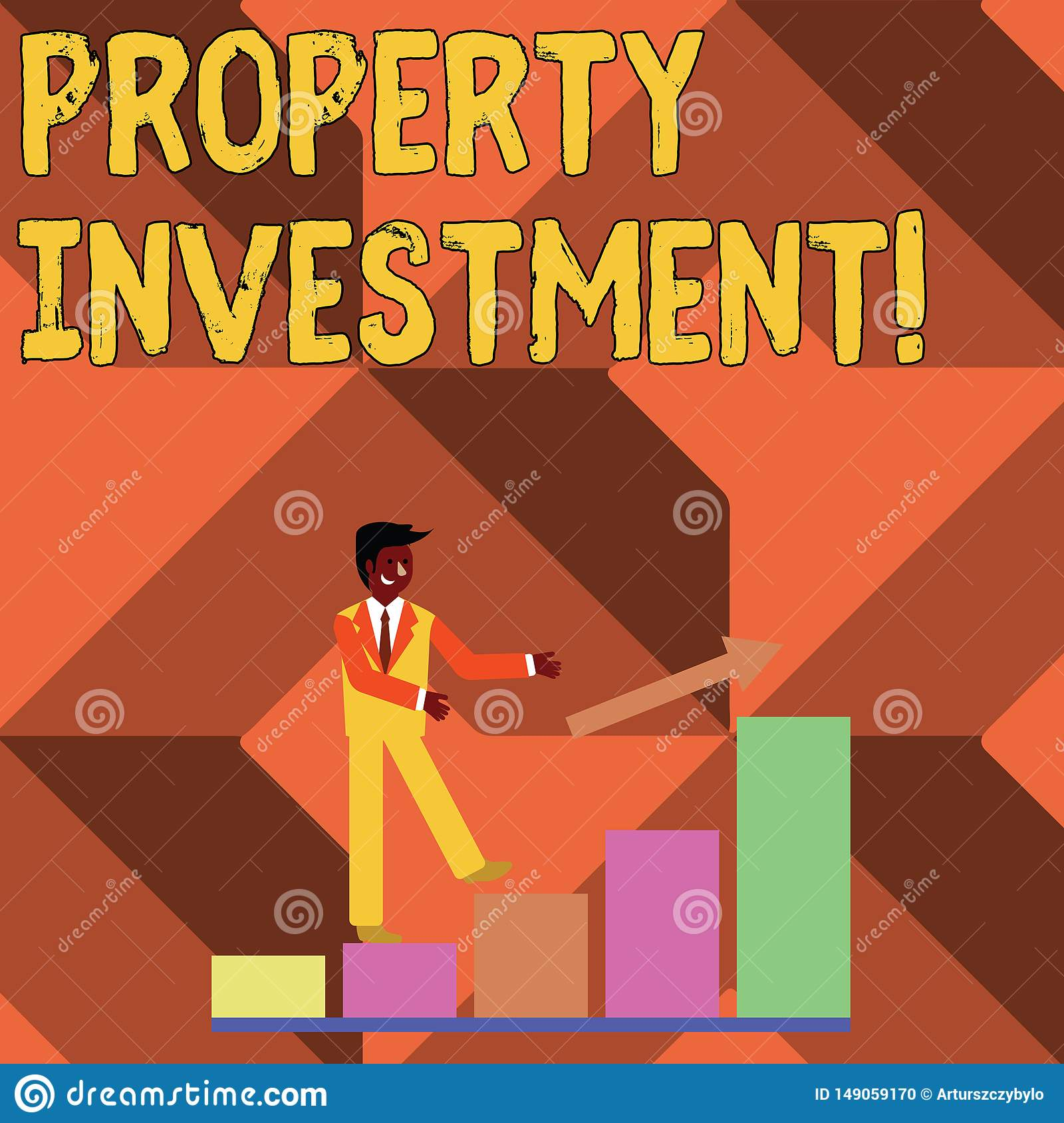 Text sign showing Property Investment. Conceptual photo Asset purchased and held primarily for its future income Smiling