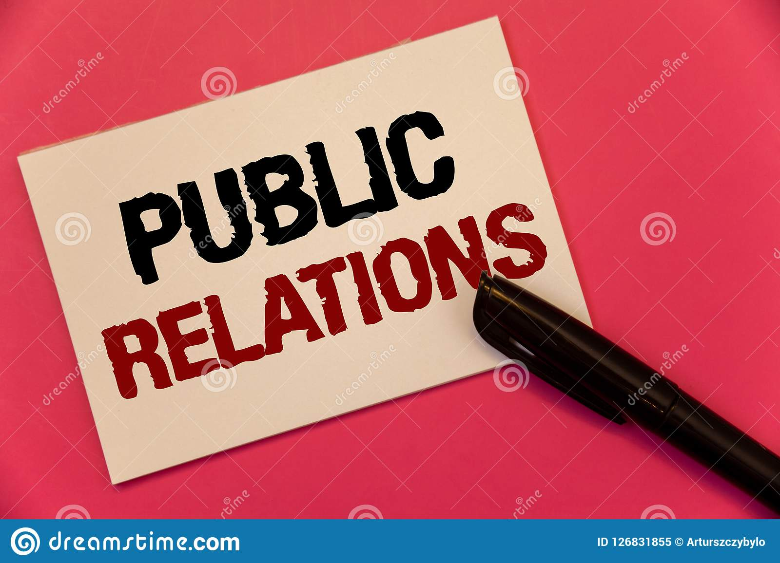 Text sign showing Public Relations. Conceptual photo Communication Media People Information Publicity Social Text two Words notes