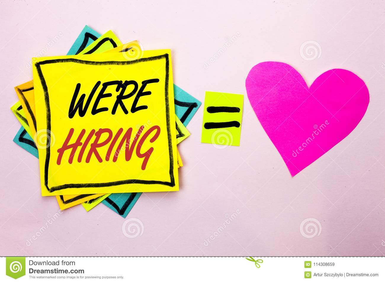 Text sign showing We re Hiring. Conceptual photo Recruiting Hiring Now Recruitment Vacancy Announced Hire written on Yellow Stick