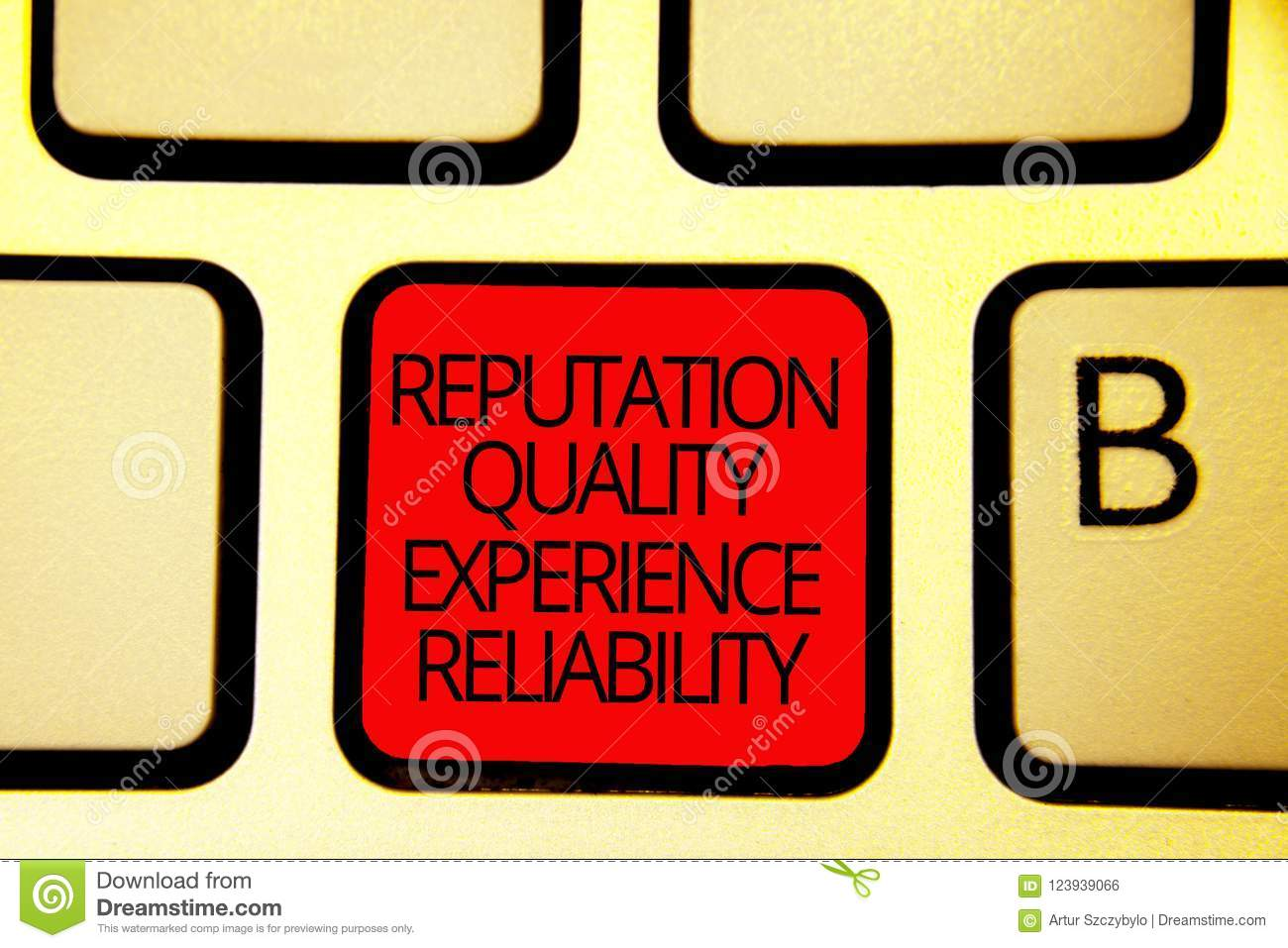 Text sign showing Reputation Quality Experience Reliability. Conceptual photo Customer satisfaction Good Service Keyboard red key