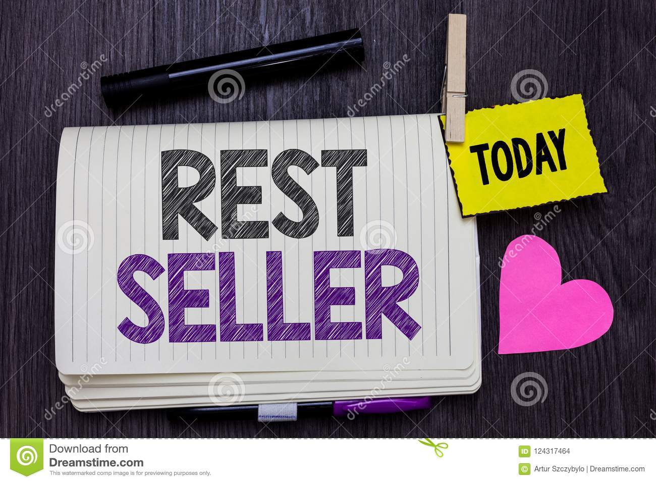 Text sign showing Rest Seller. Conceptual photo one feature or the perceived benefit good which makes it unique Open notebook clot
