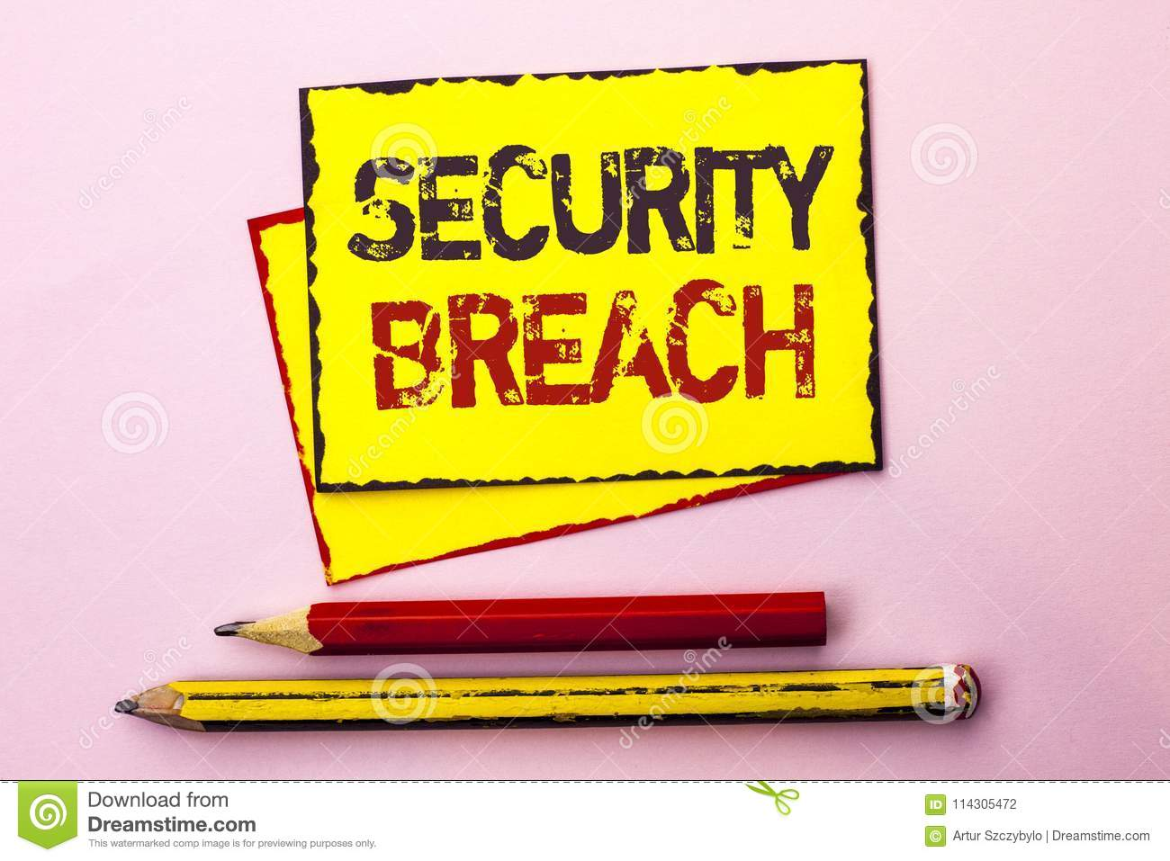 Text sign showing Security Breach. Conceptual photo Unauthorized access to Data Network Applications Devices written on Yellow Sti