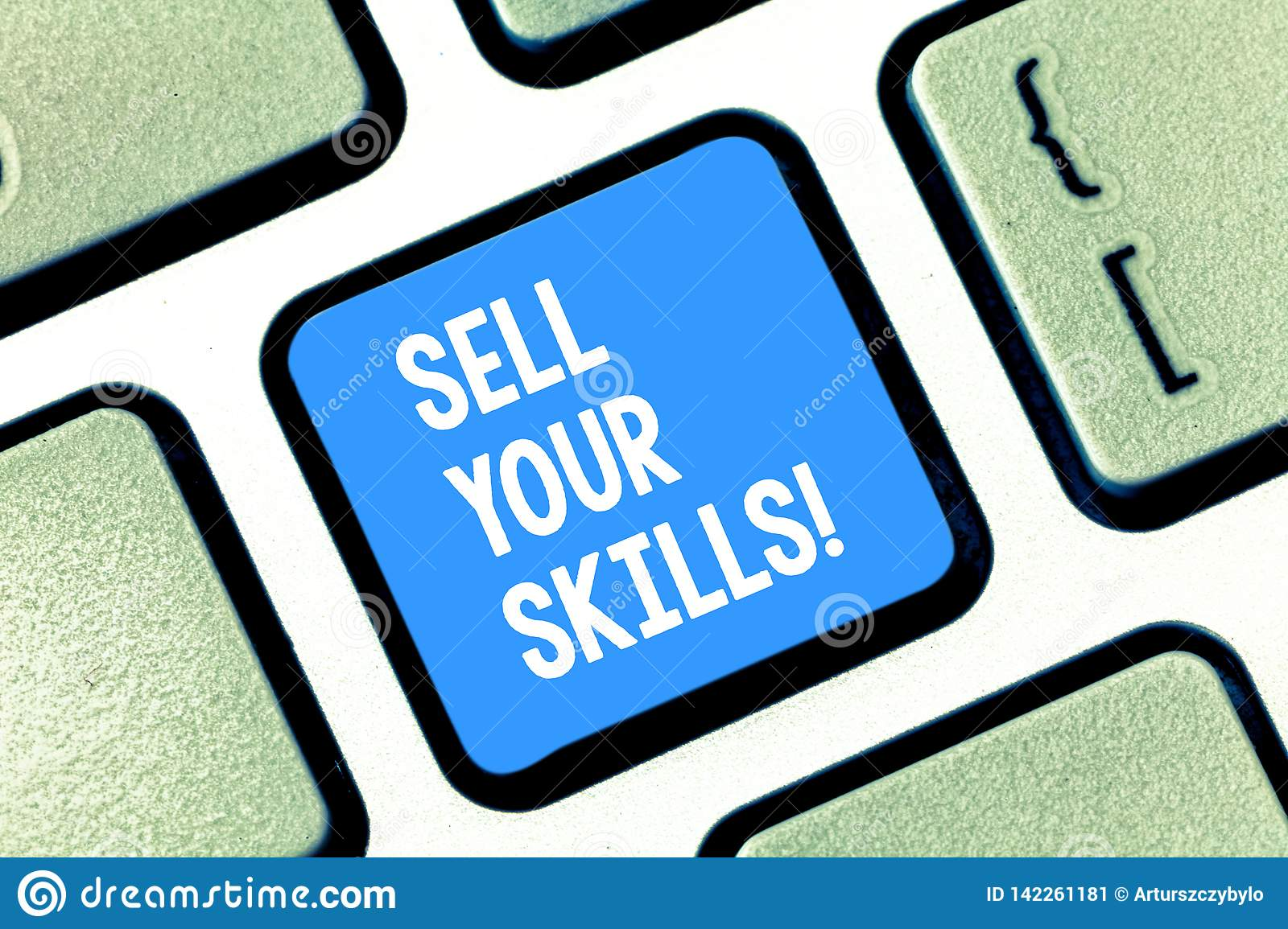 Text sign showing Sell Your Skills. Conceptual photo make your ability to do something well or expertise shine Keyboard