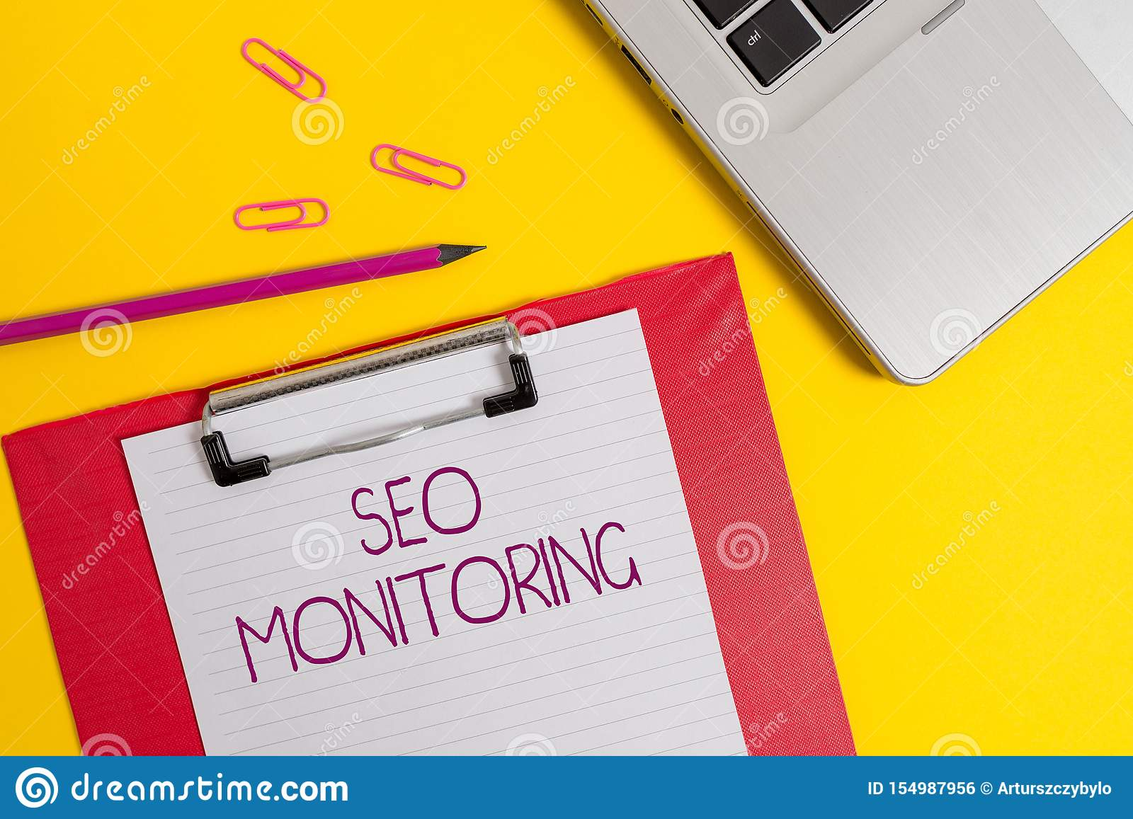 Text sign showing Seo Monitoring. Conceptual photo Tracking the progress of strategy made in the platform Slim metallic