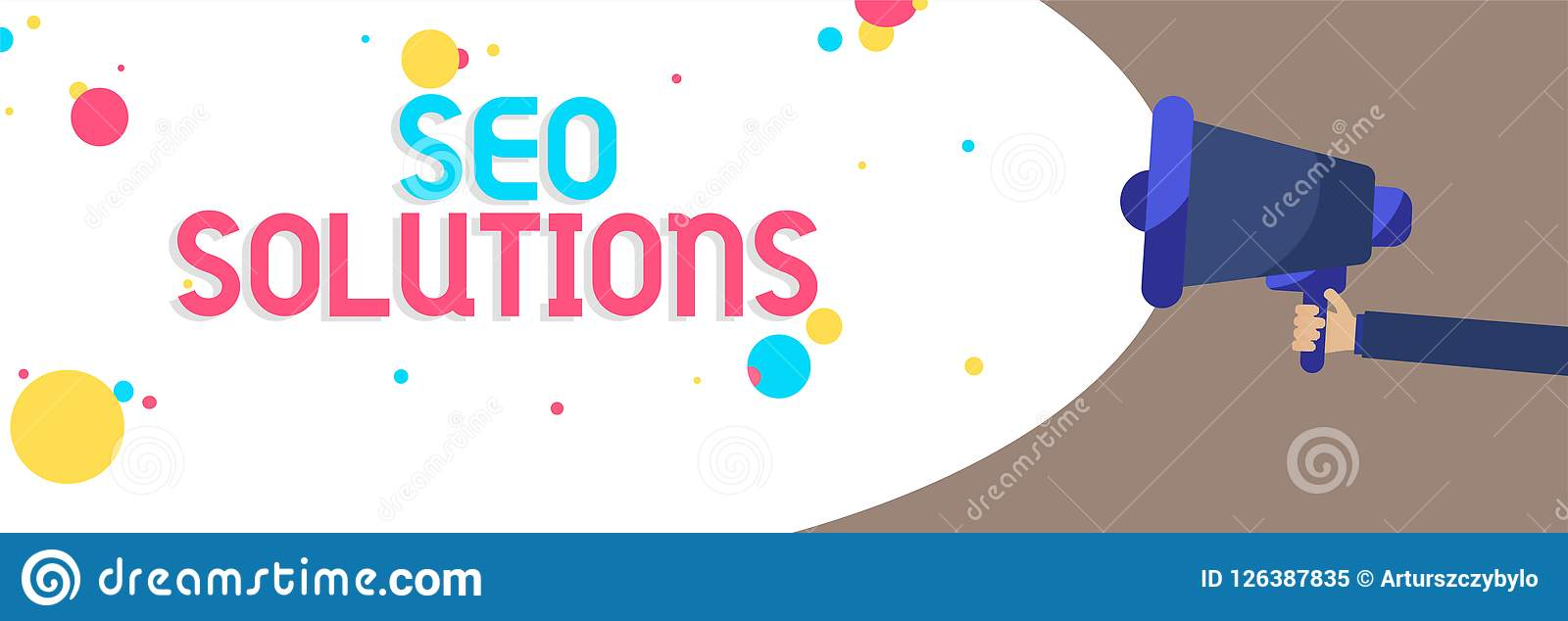 Text sign showing Seo Solutions. Conceptual photo Search Engine Result Page Increase Visitors by Rankings Man holding Megaphone lo