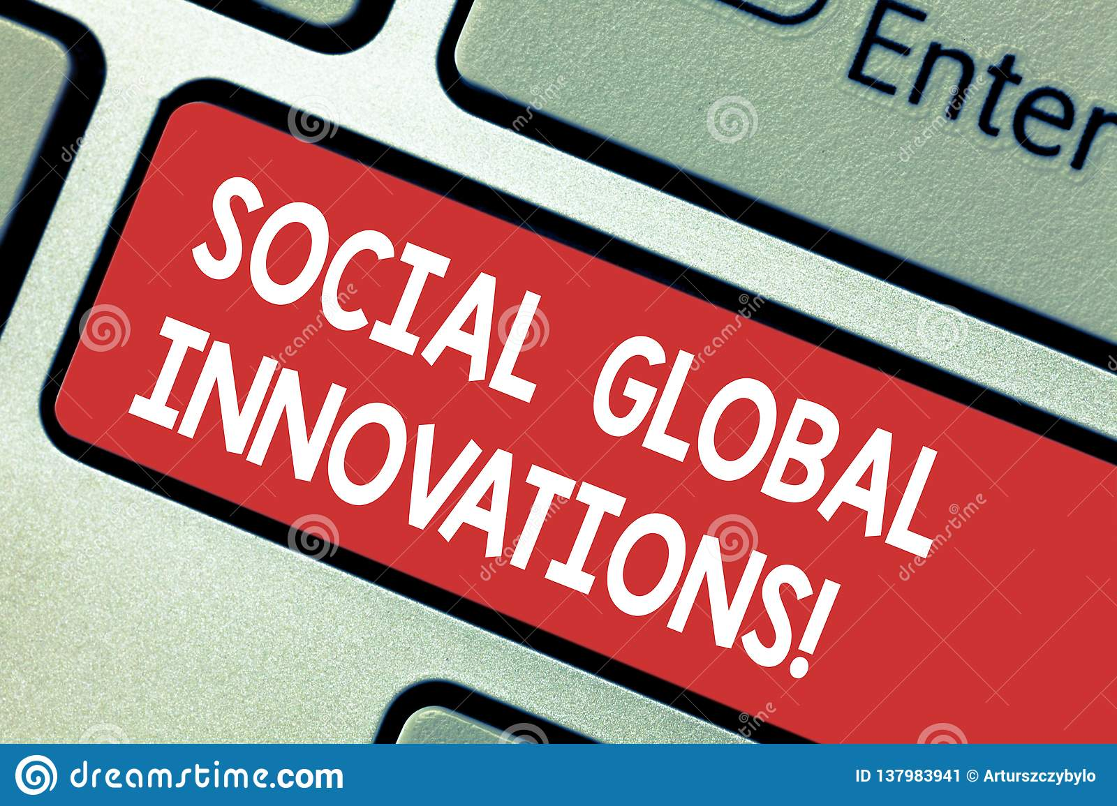 Text sign showing Social Global Innovations. Conceptual photo new concepts that meets social global needs Keyboard key