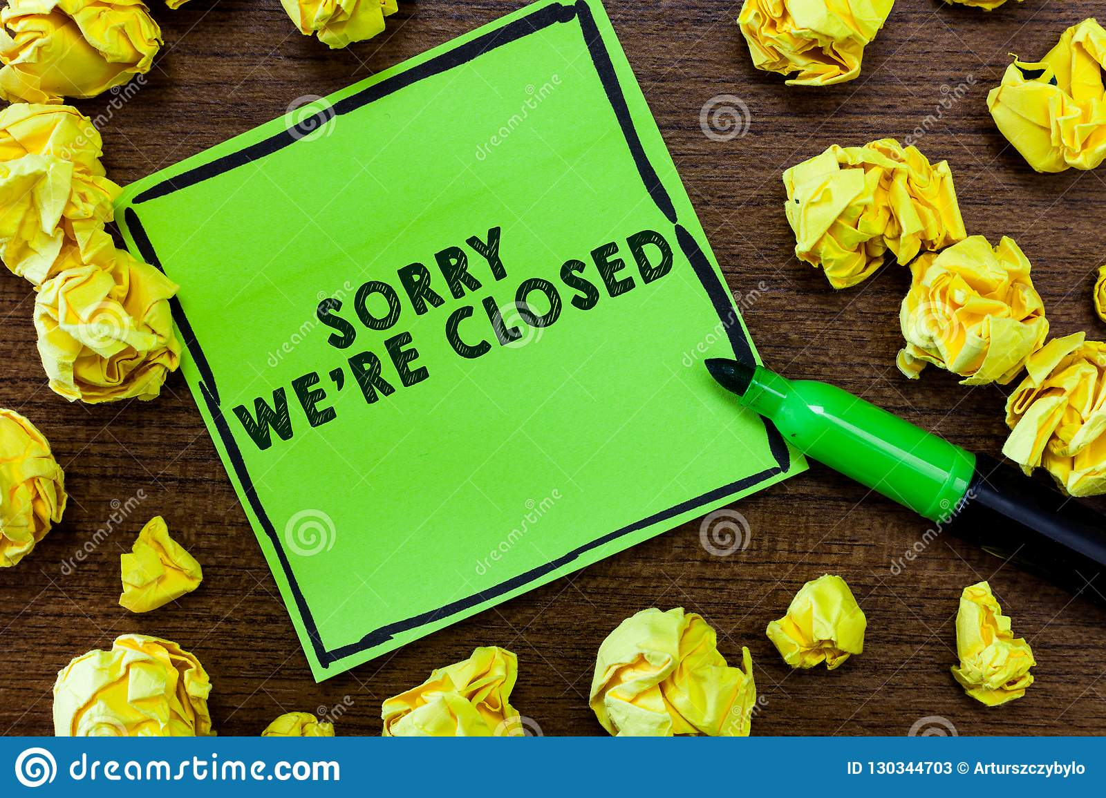 Text sign showing Sorry We re are Closed. Conceptual photo Expression of Regret Disappointment Not Open Sign