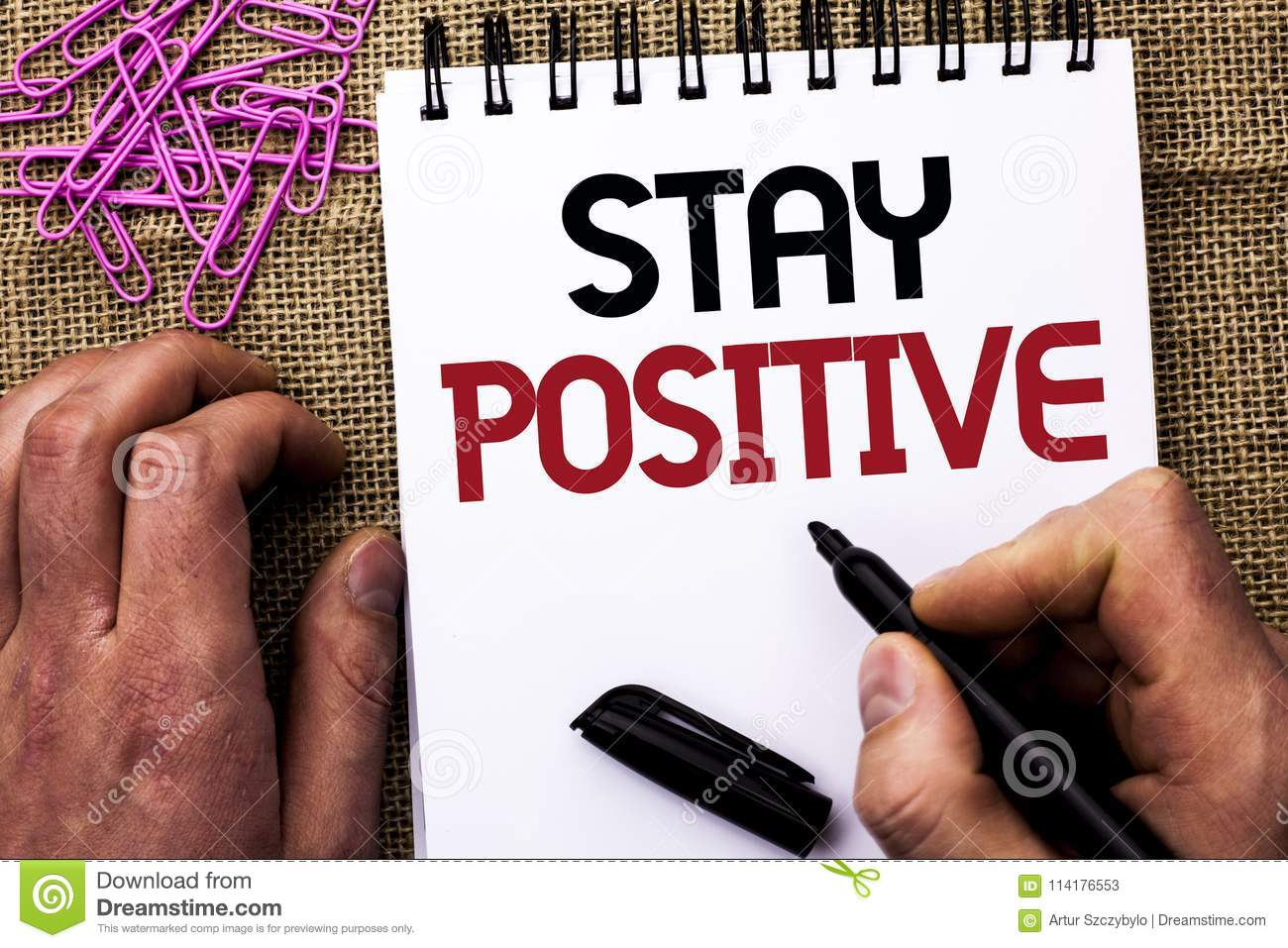 Text sign showing Stay Positive. Conceptual photo Be Optimistic Motivated Good Attitude Inspired Hopeful written by Man Holding Ma