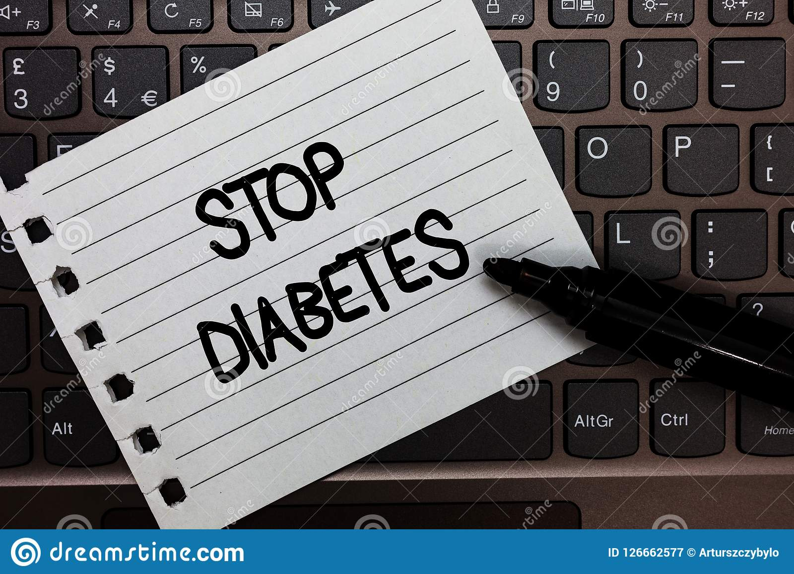 Text sign showing Stop Diabetes. Conceptual photo Blood Sugar Level is higher than normal Inject Insulin Notebook piece paper keyb. Oard Inspiration ideas Type Royalty Free Stock Photography