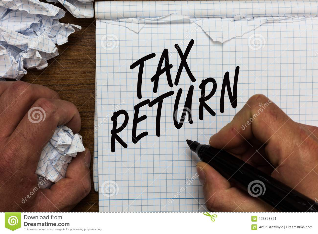 Text sign showing Tax Return. Conceptual photo which taxpayer makes annual statement of income circumstances Man holding marker no
