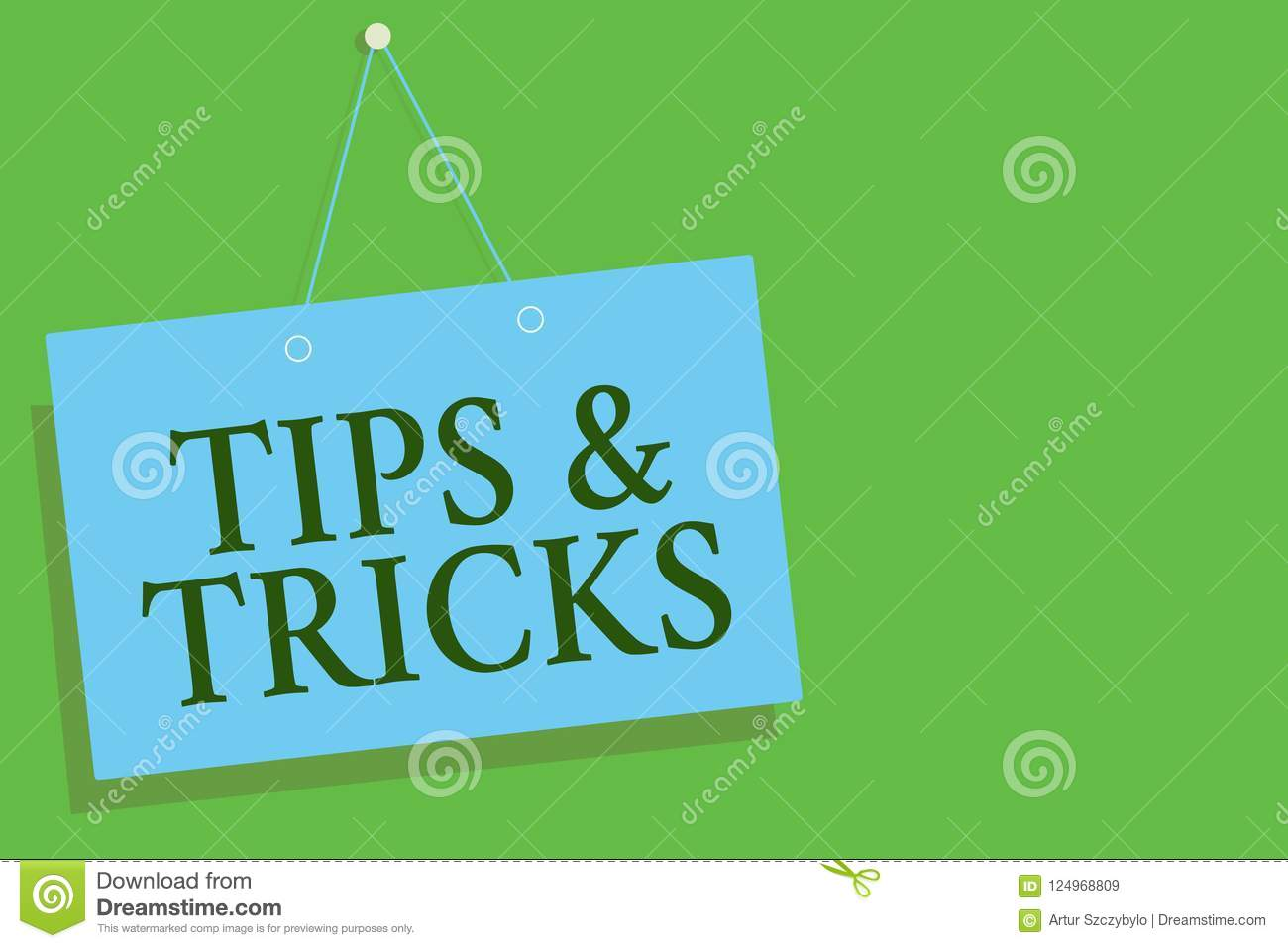 Text sign showing Tips and Tricks. Conceptual photo Steps Lifehacks Handy advice Recommendations Skills Blue board wall message co