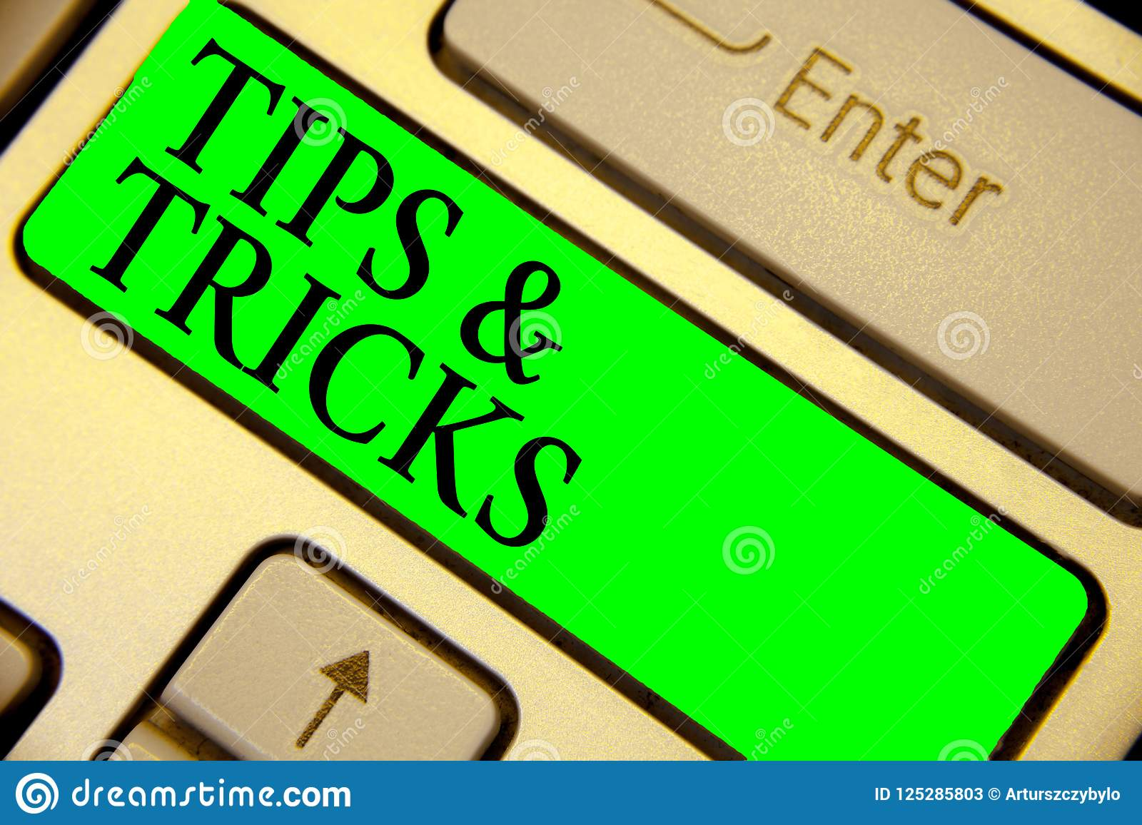 Text sign showing Tips and Tricks. Conceptual photo Steps Lifehacks Handy advice Recommendations Skills Keyboard green key Intenti